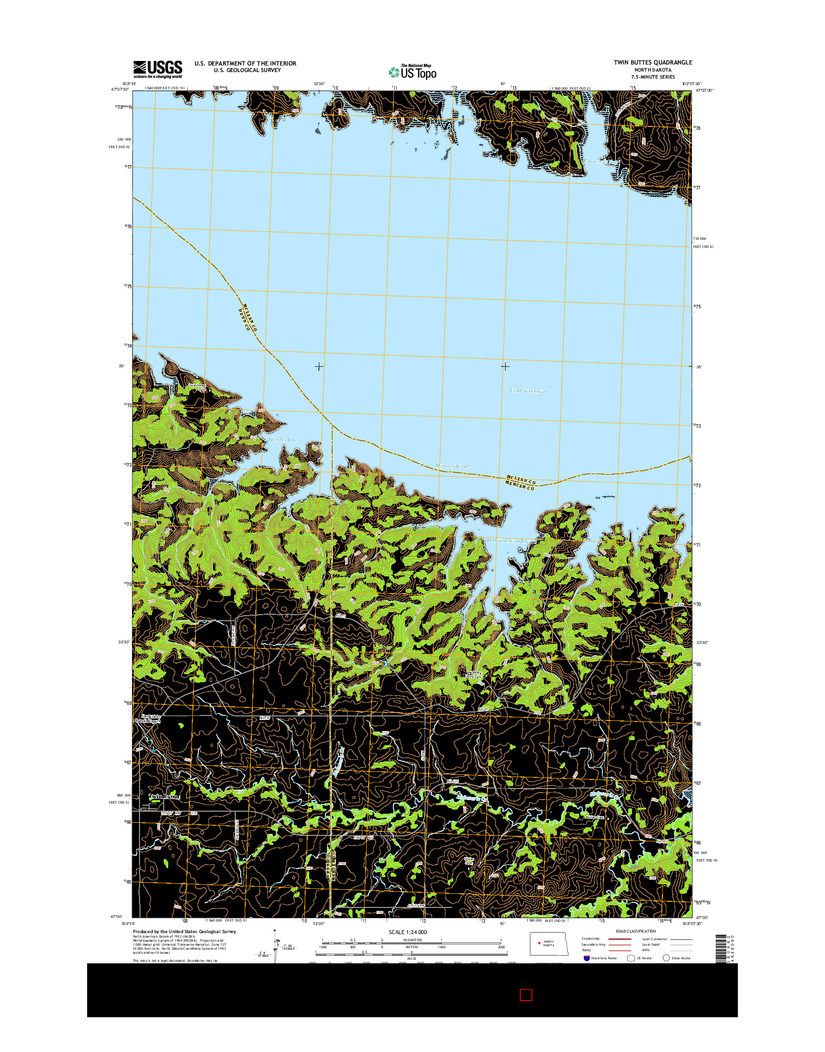USGS US TOPO 7.5-MINUTE MAP FOR TWIN BUTTES, ND 2014
