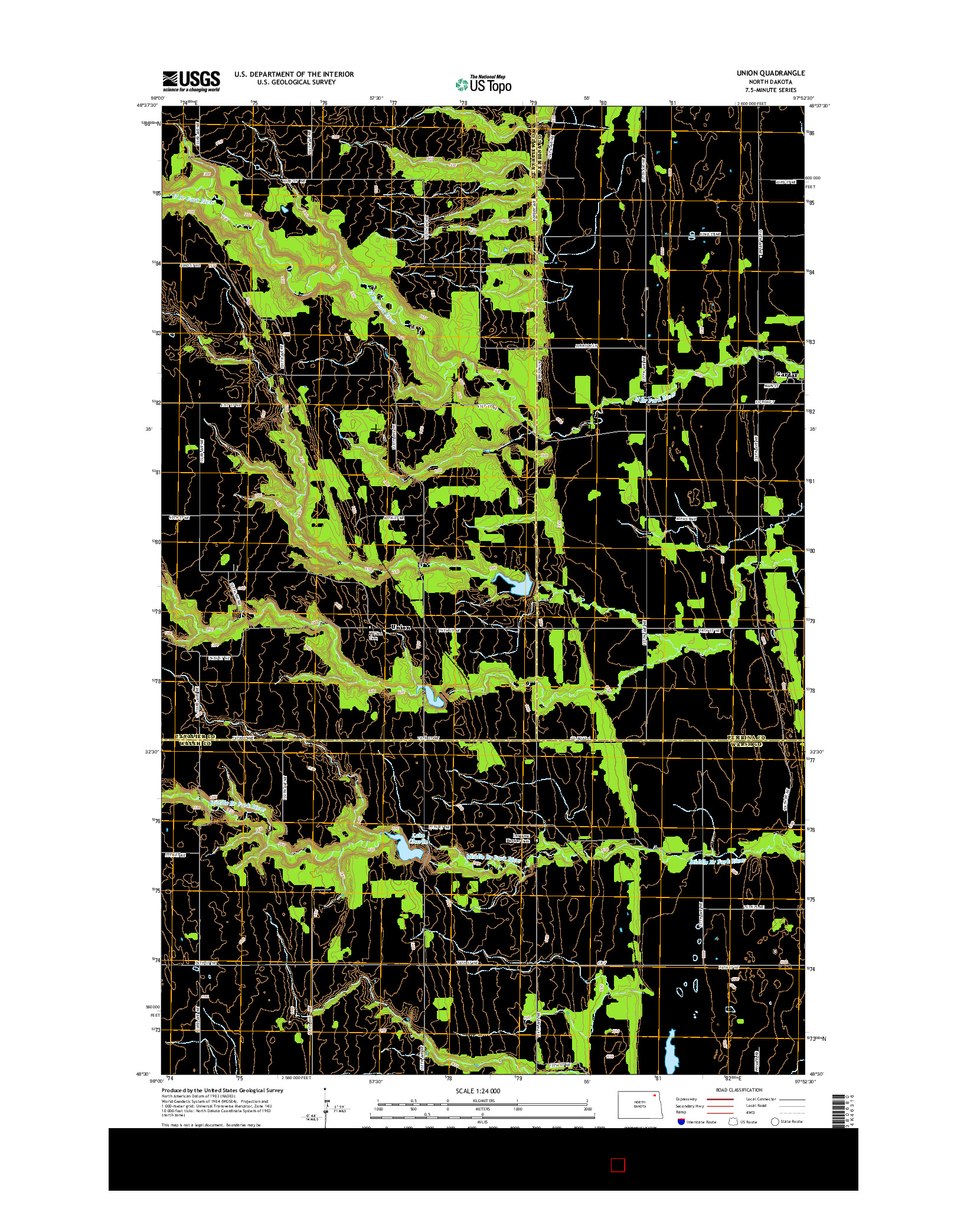 USGS US TOPO 7.5-MINUTE MAP FOR UNION, ND 2014