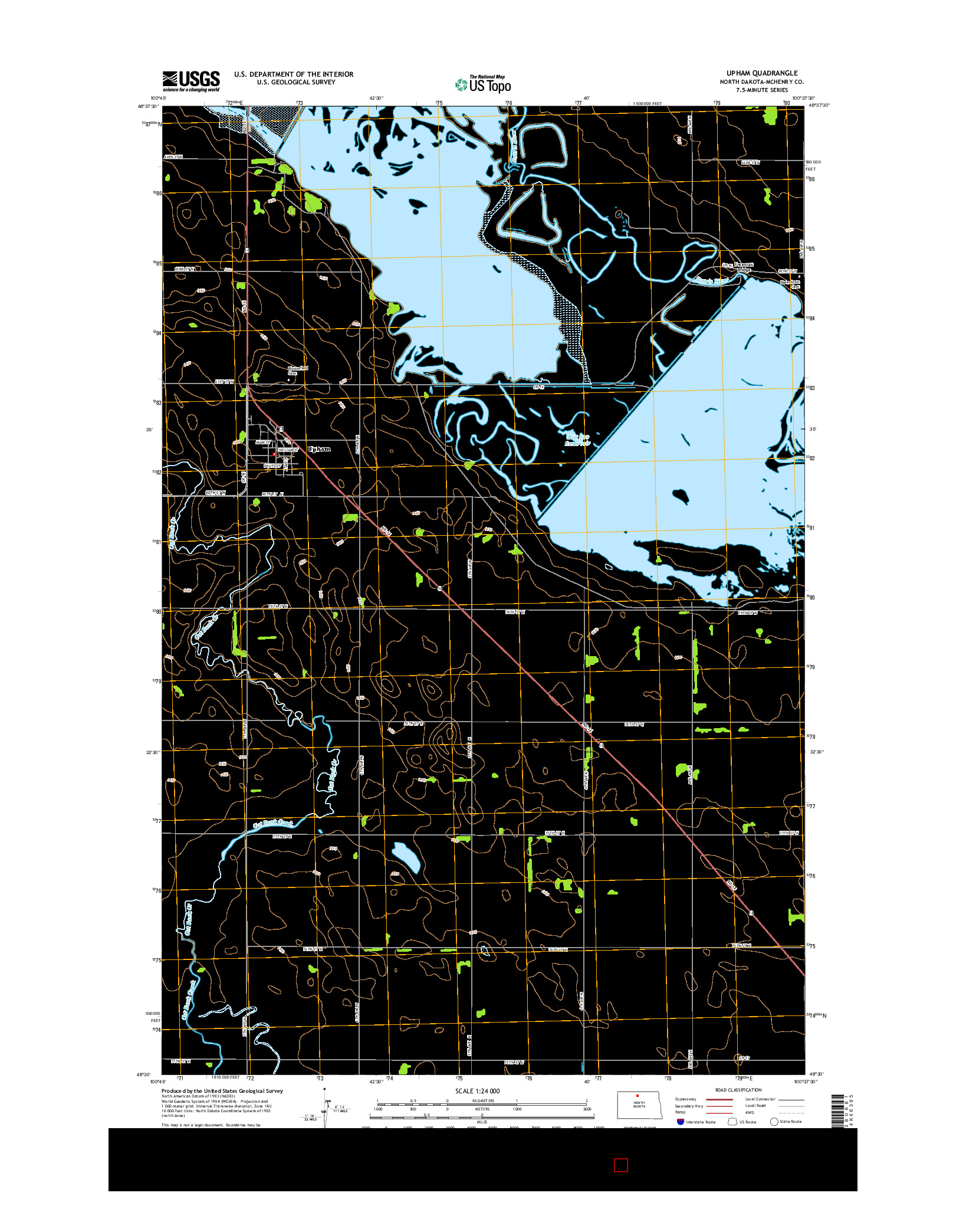 USGS US TOPO 7.5-MINUTE MAP FOR UPHAM, ND 2014