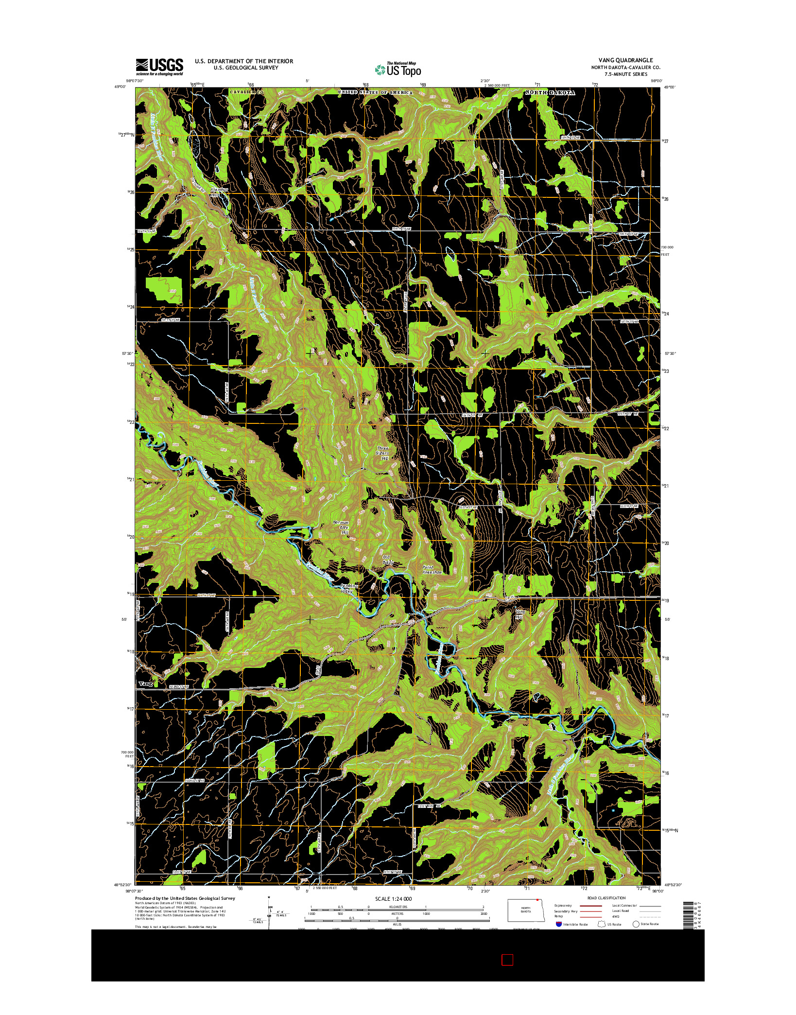 USGS US TOPO 7.5-MINUTE MAP FOR VANG, ND 2014