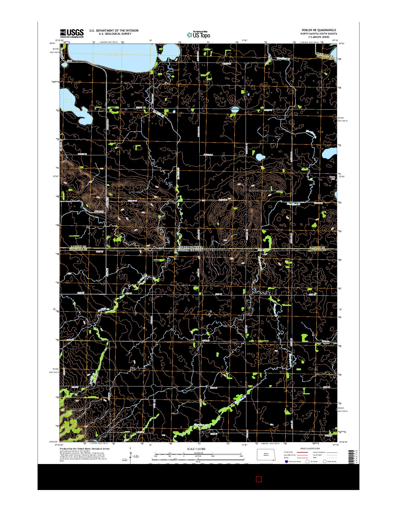 USGS US TOPO 7.5-MINUTE MAP FOR VEBLEN NE, ND-SD 2014