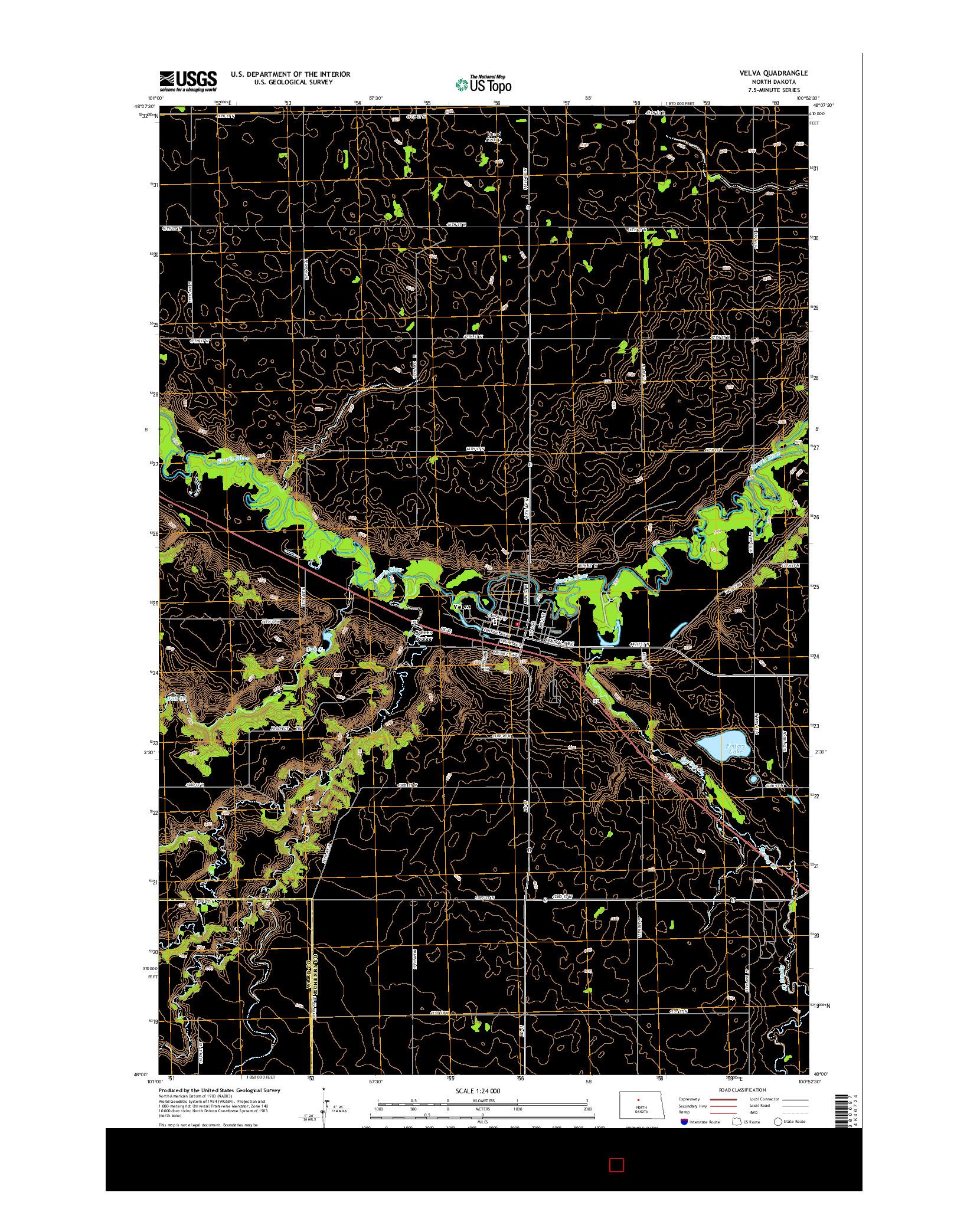 USGS US TOPO 7.5-MINUTE MAP FOR VELVA, ND 2014