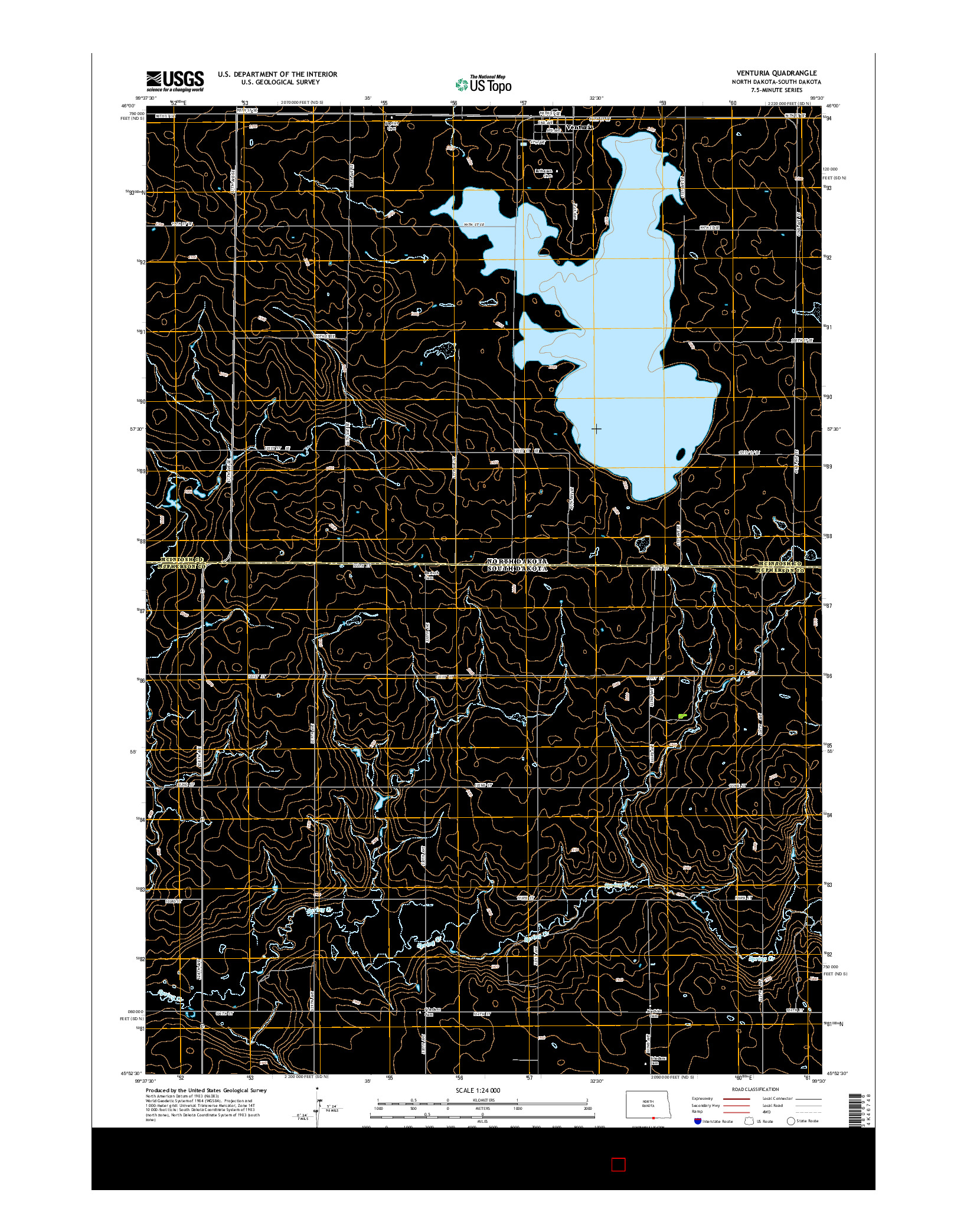 USGS US TOPO 7.5-MINUTE MAP FOR VENTURIA, ND-SD 2014