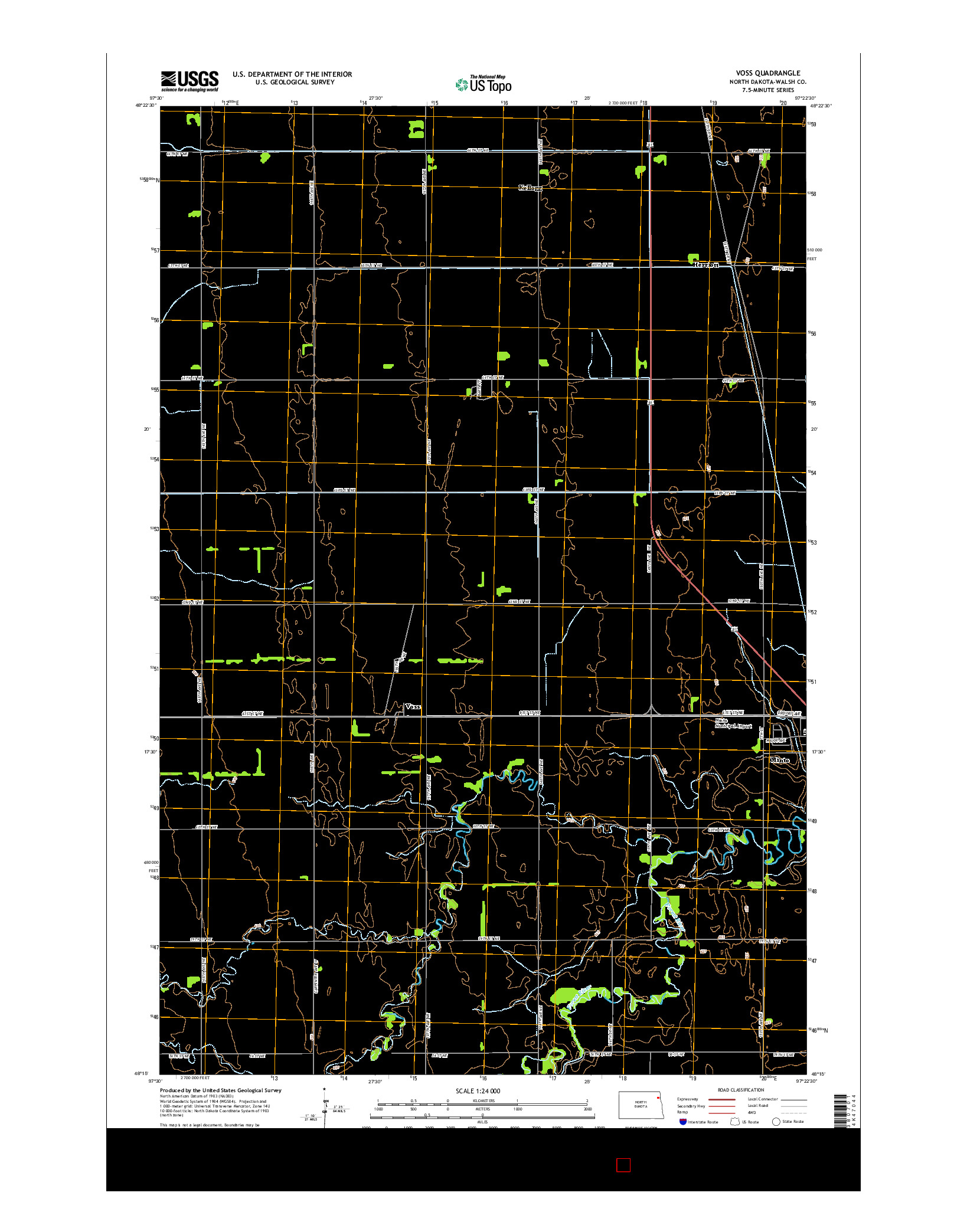 USGS US TOPO 7.5-MINUTE MAP FOR VOSS, ND 2014