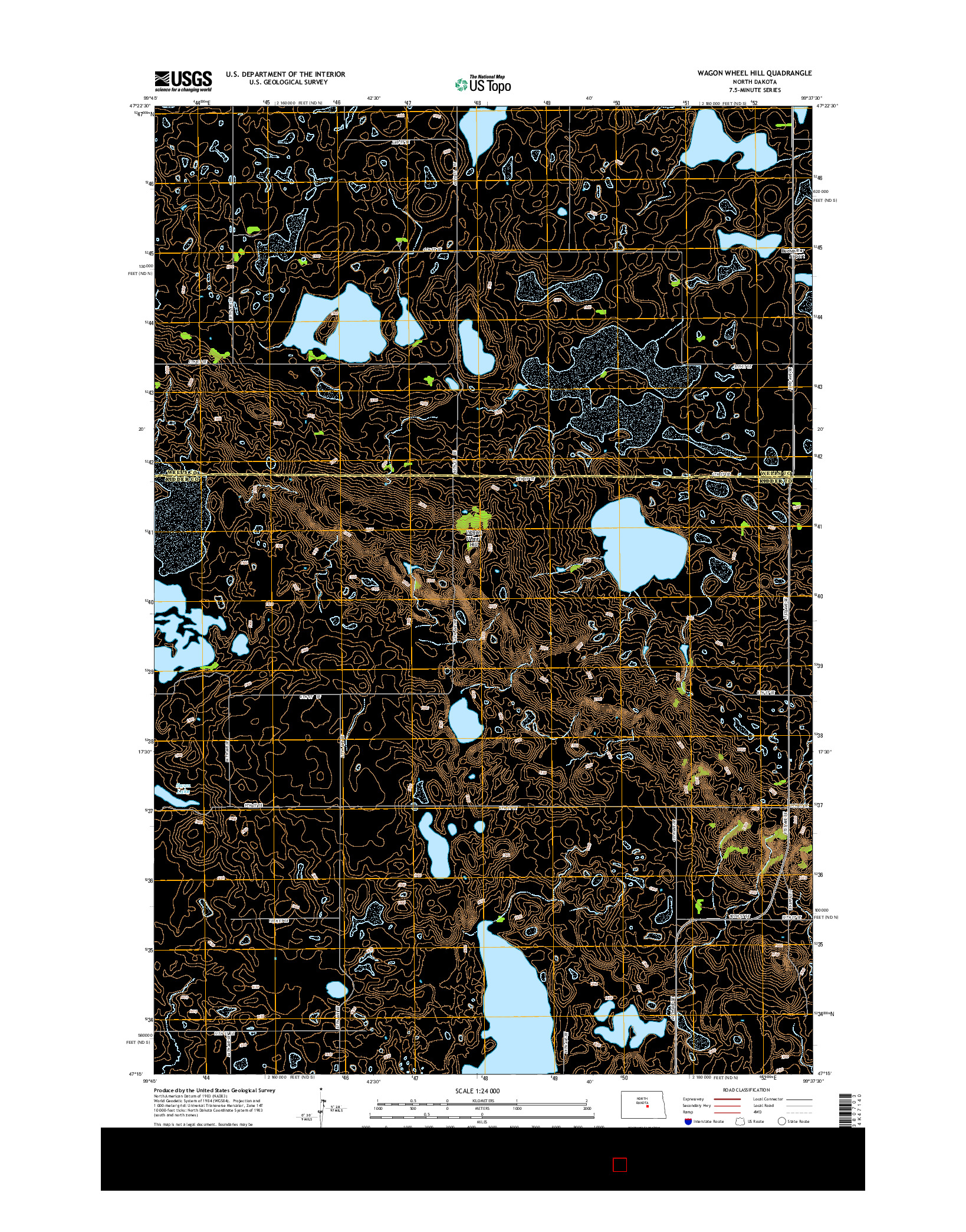 USGS US TOPO 7.5-MINUTE MAP FOR WAGON WHEEL HILL, ND 2014