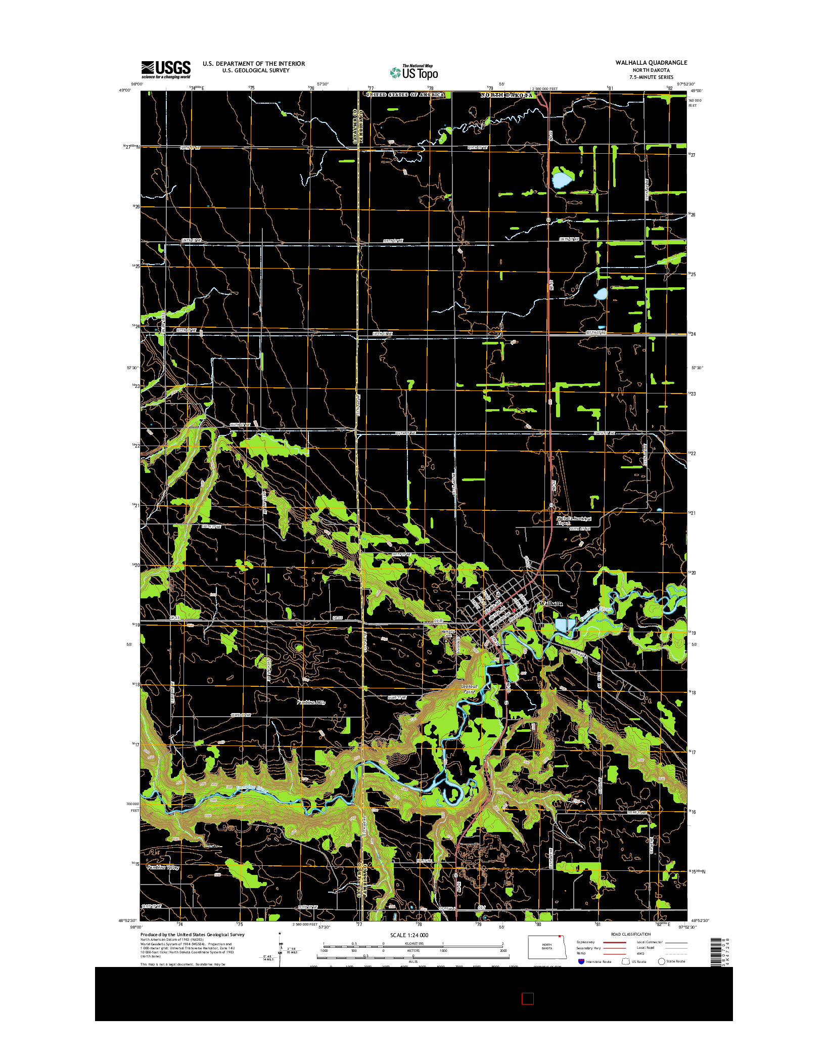 USGS US TOPO 7.5-MINUTE MAP FOR WALHALLA, ND 2014
