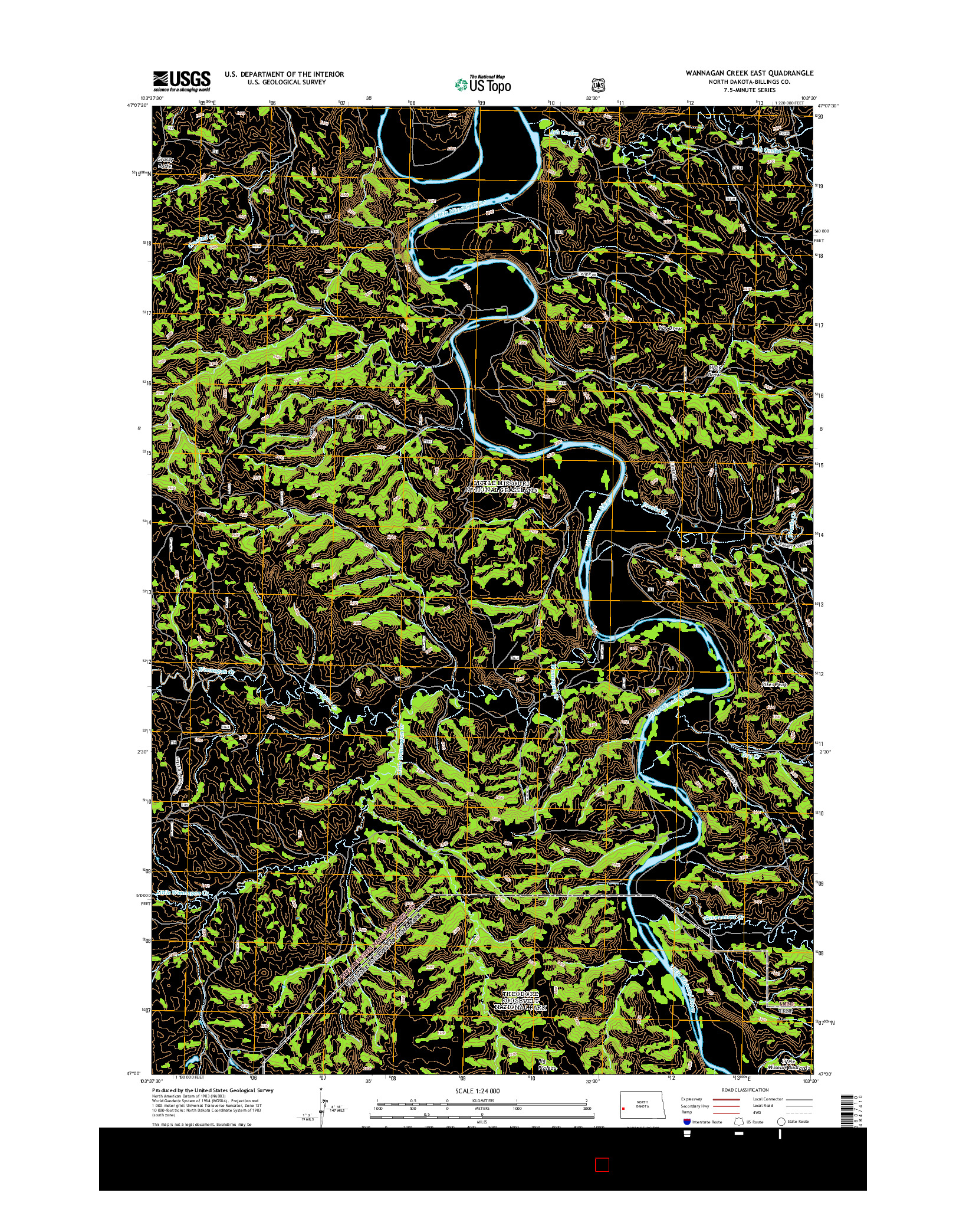 USGS US TOPO 7.5-MINUTE MAP FOR WANNAGAN CREEK EAST, ND 2014
