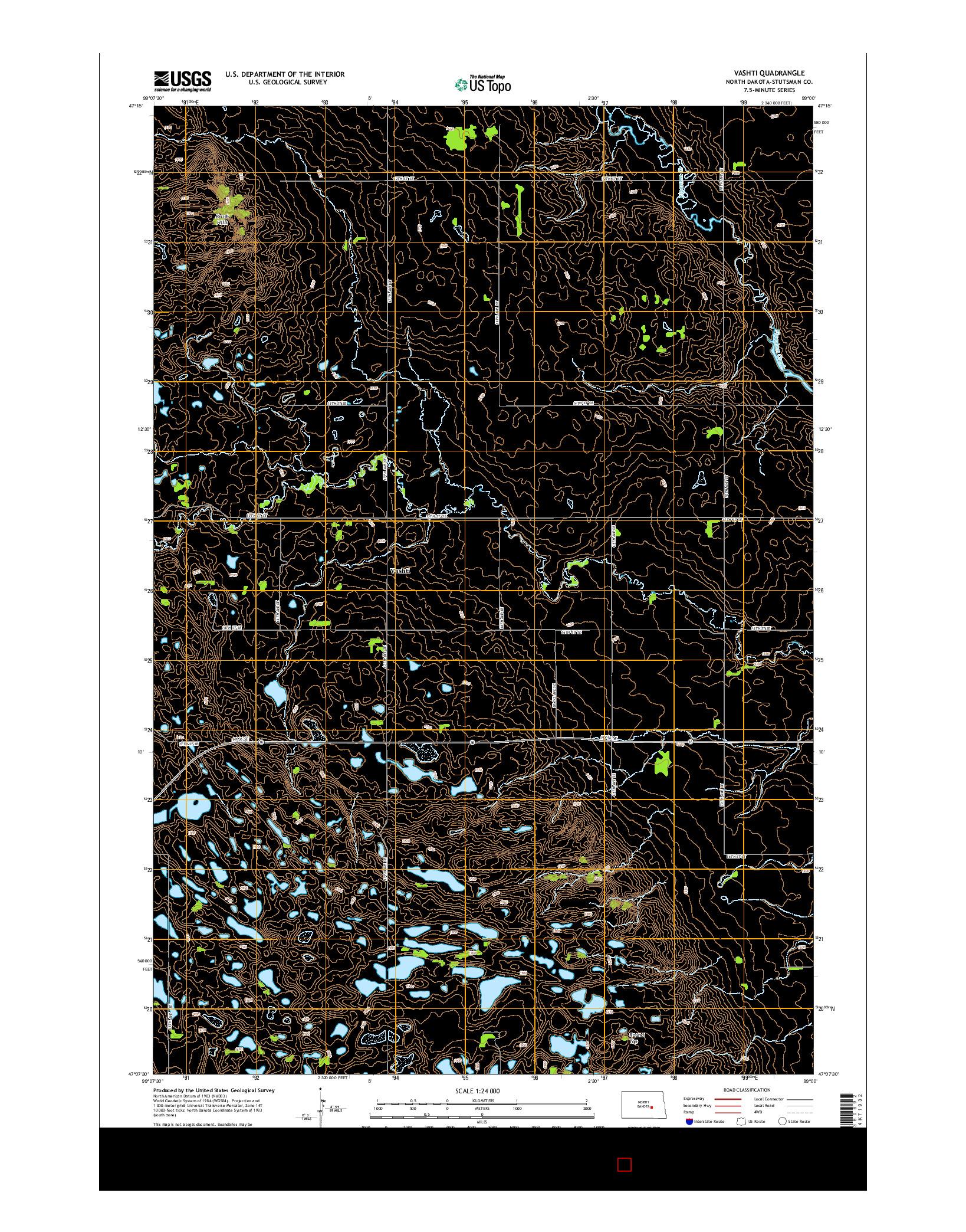 USGS US TOPO 7.5-MINUTE MAP FOR VASHTI, ND 2014