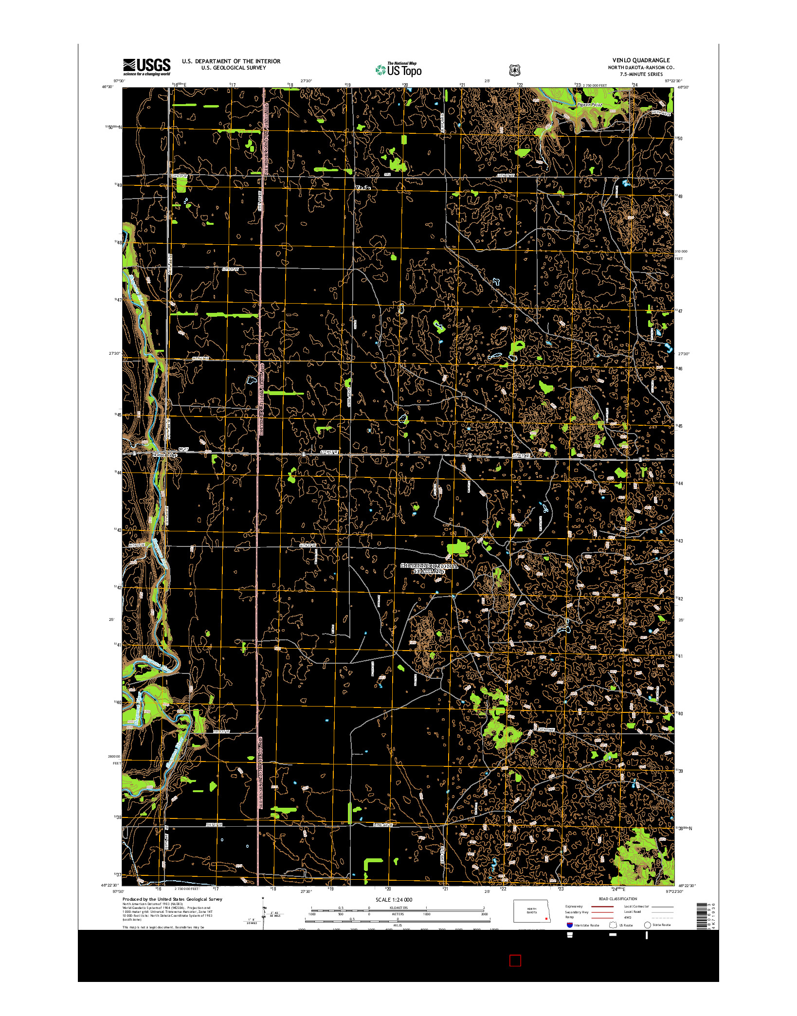USGS US TOPO 7.5-MINUTE MAP FOR VENLO, ND 2014