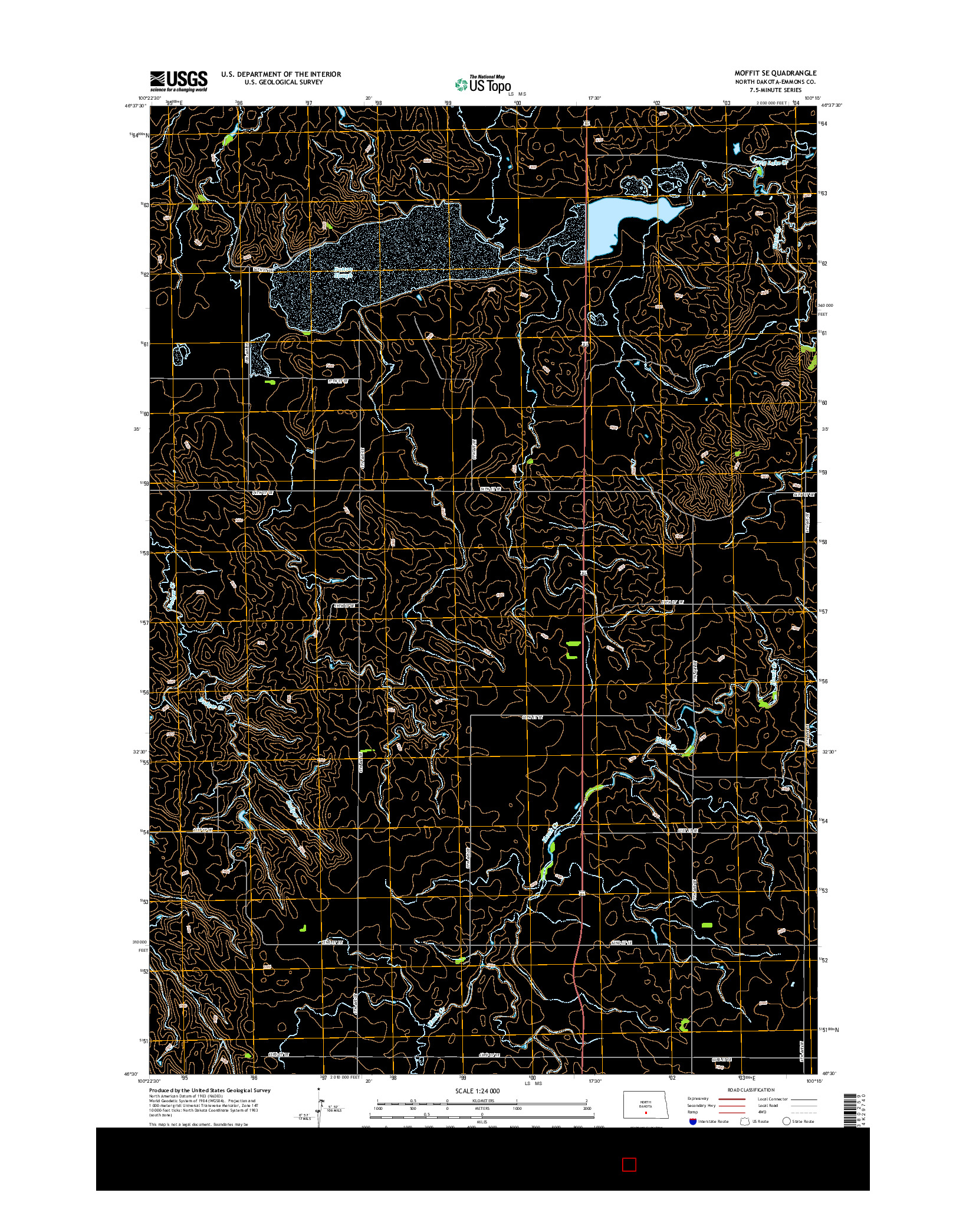 USGS US TOPO 7.5-MINUTE MAP FOR MOFFIT SE, ND 2014