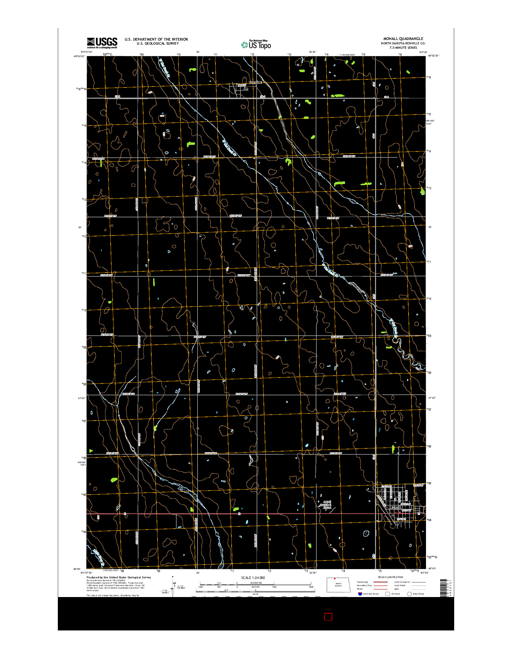 USGS US TOPO 7.5-MINUTE MAP FOR MOHALL, ND 2014