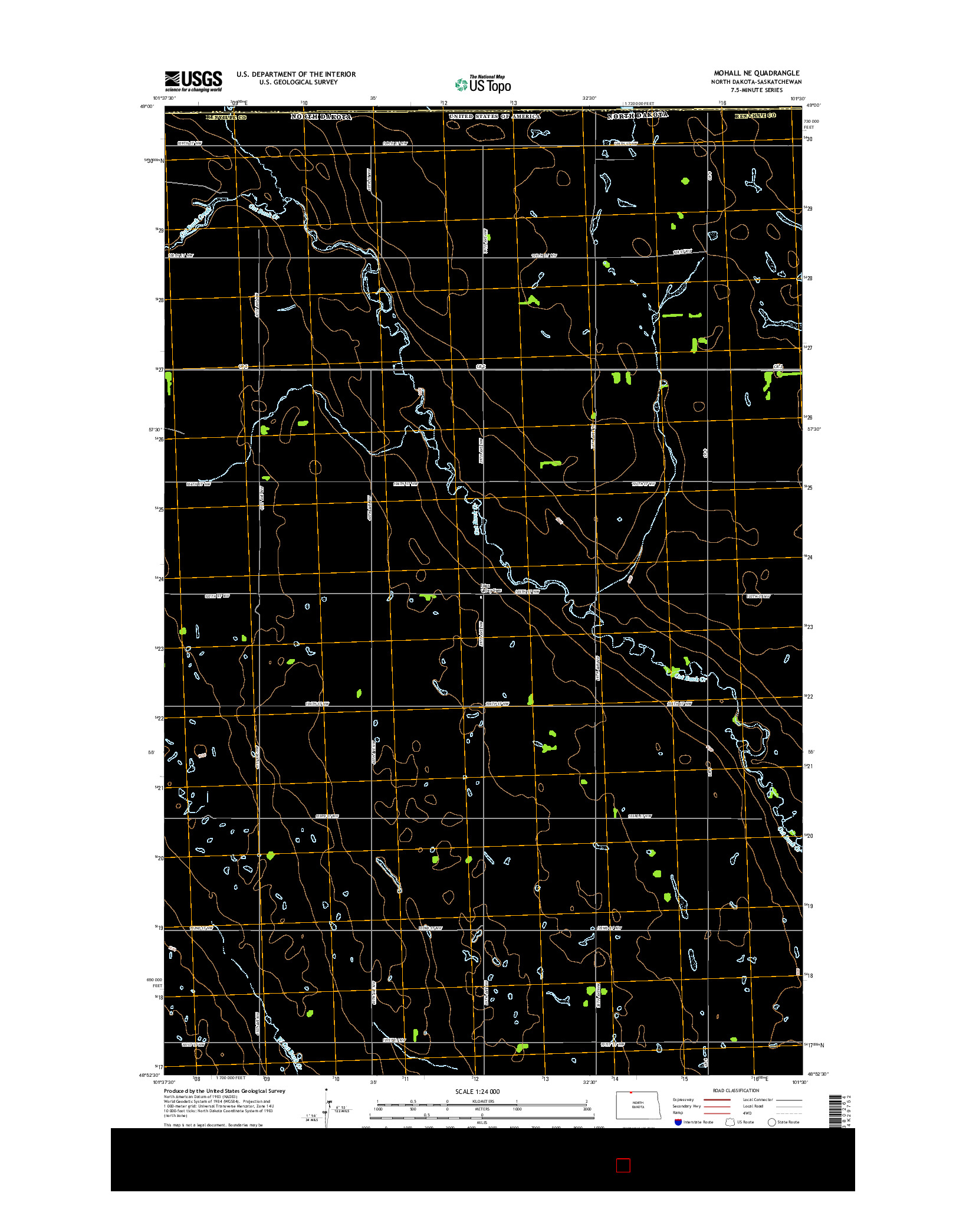 USGS US TOPO 7.5-MINUTE MAP FOR MOHALL NE, ND-SK 2014