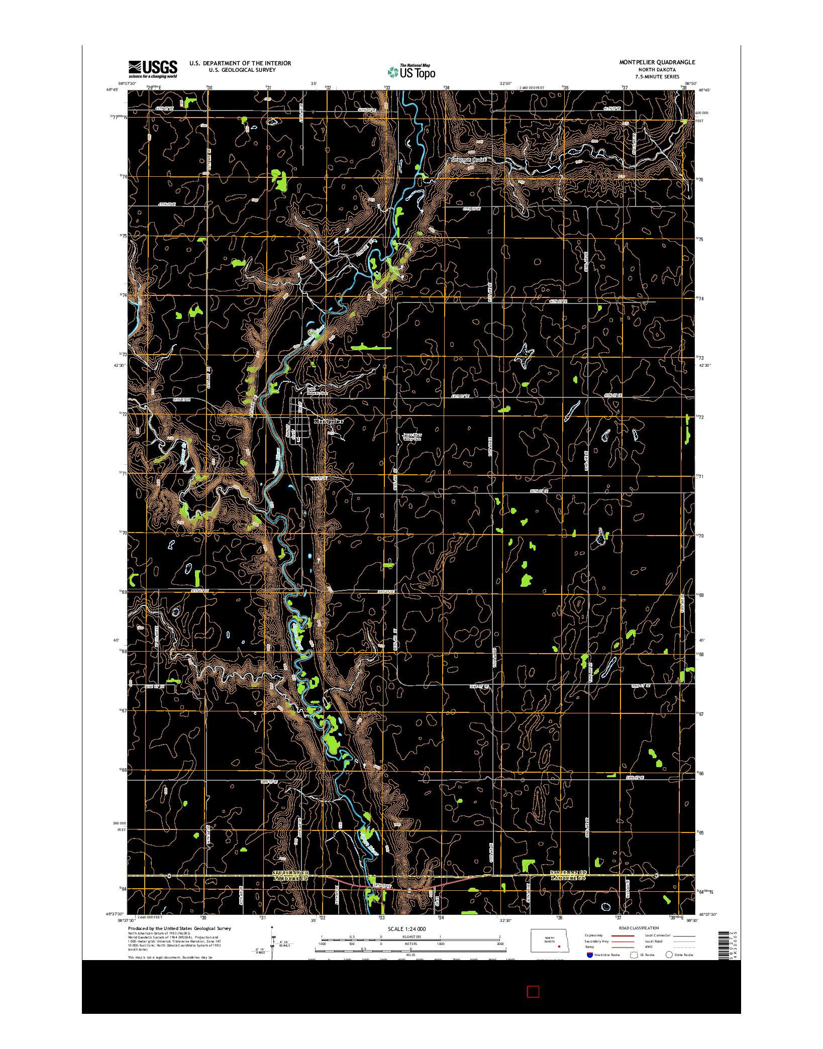 USGS US TOPO 7.5-MINUTE MAP FOR MONTPELIER, ND 2014