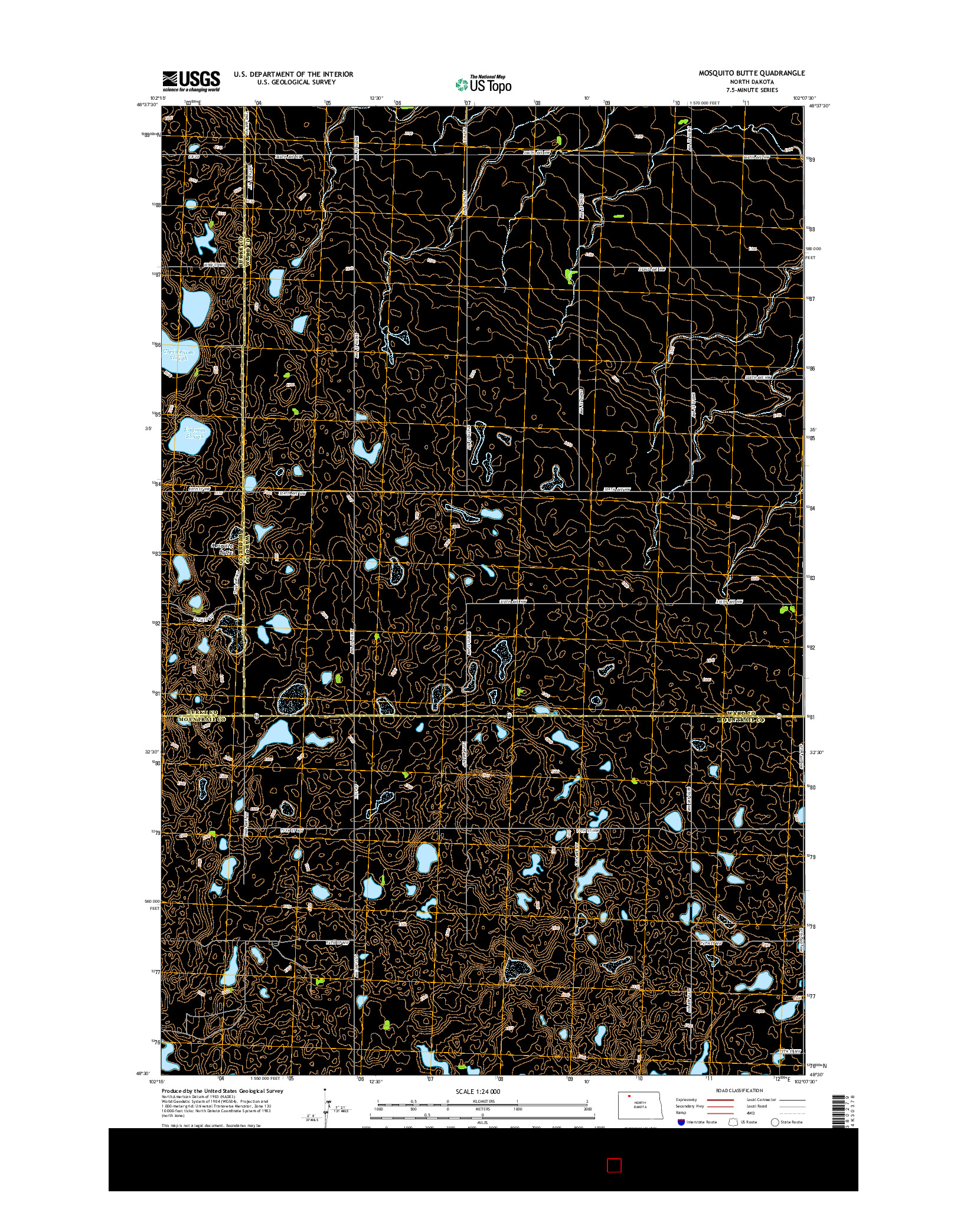 USGS US TOPO 7.5-MINUTE MAP FOR MOSQUITO BUTTE, ND 2014