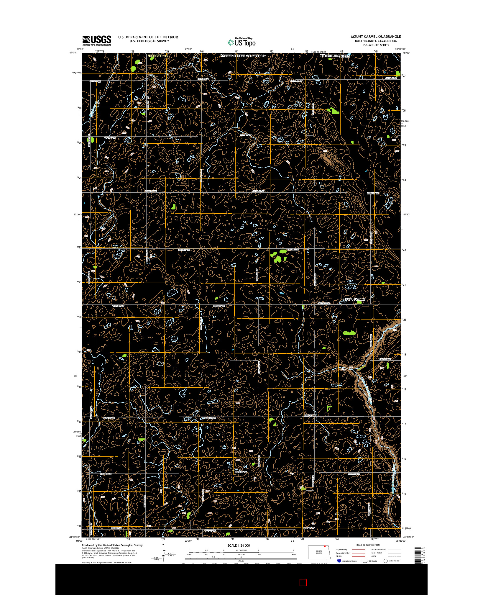 USGS US TOPO 7.5-MINUTE MAP FOR MOUNT CARMEL, ND 2014