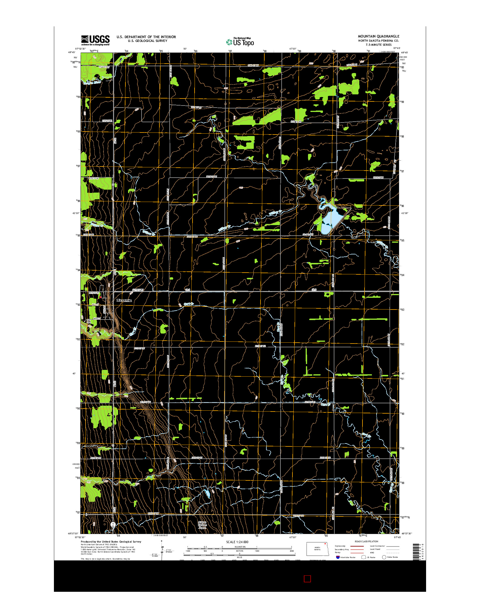 USGS US TOPO 7.5-MINUTE MAP FOR MOUNTAIN, ND 2014