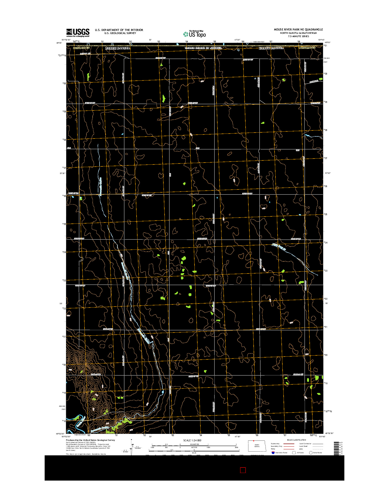 USGS US TOPO 7.5-MINUTE MAP FOR MOUSE RIVER PARK NE, ND-SK 2014