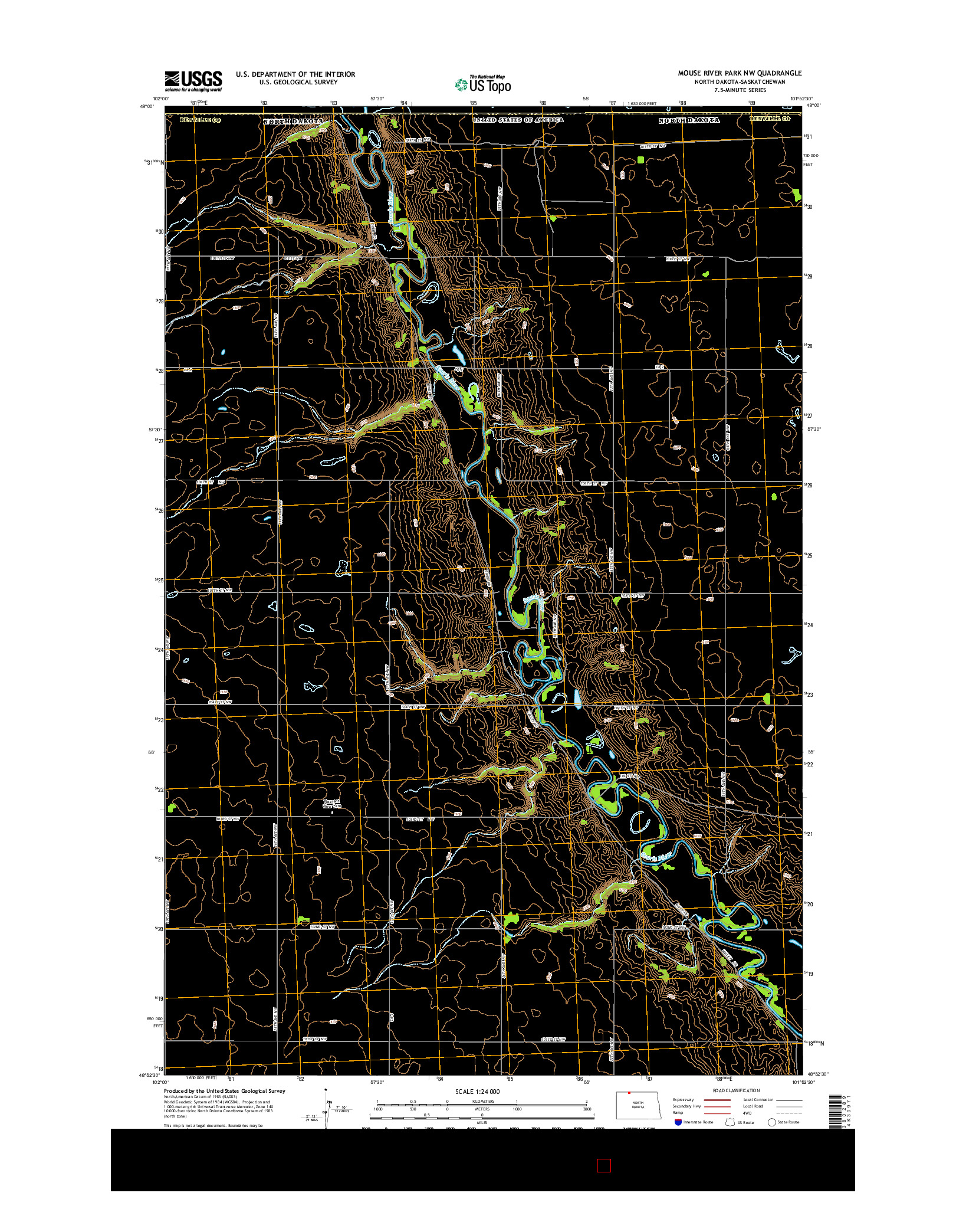 USGS US TOPO 7.5-MINUTE MAP FOR MOUSE RIVER PARK NW, ND-SK 2014
