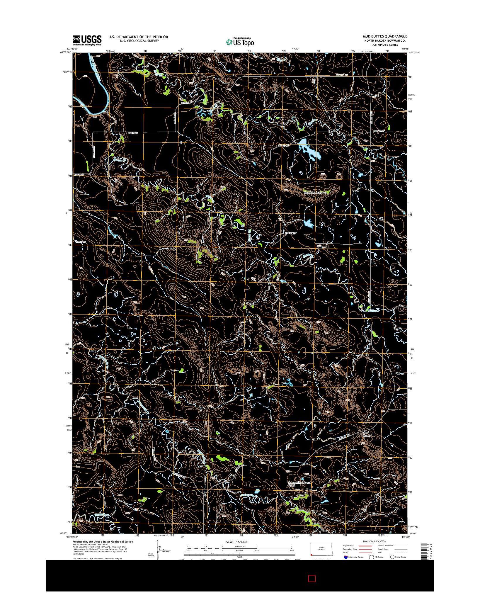 USGS US TOPO 7.5-MINUTE MAP FOR MUD BUTTES, ND 2014