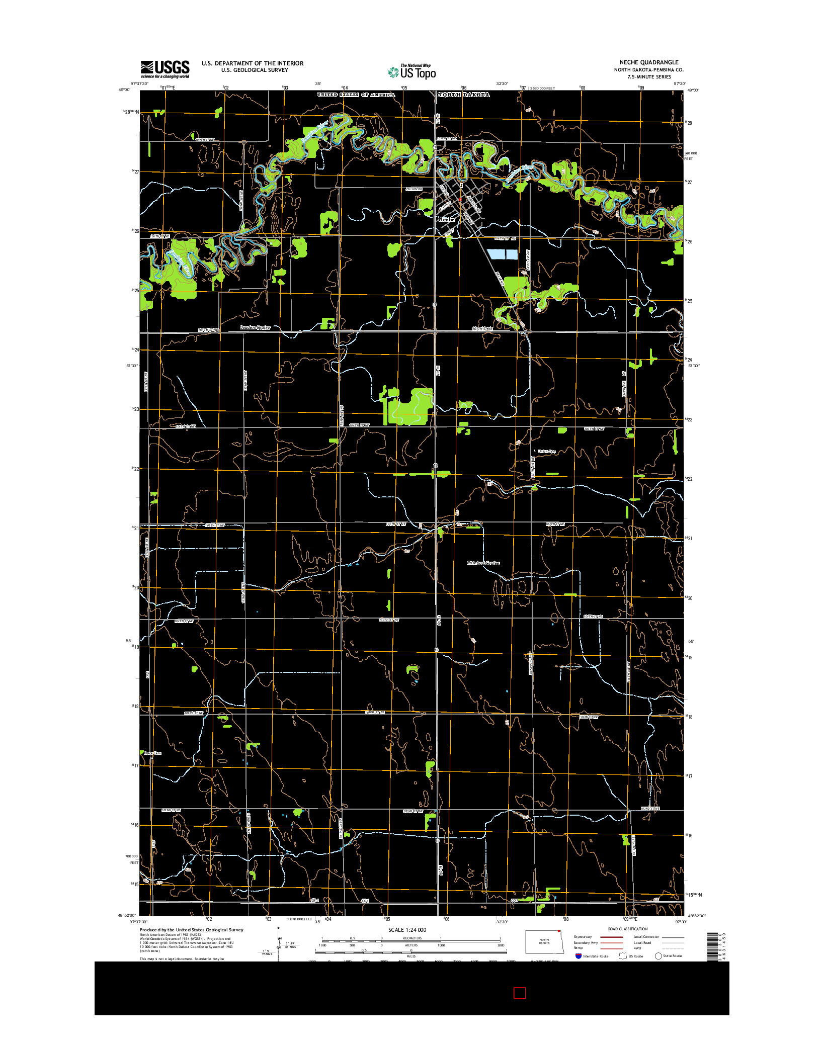 USGS US TOPO 7.5-MINUTE MAP FOR NECHE, ND 2014