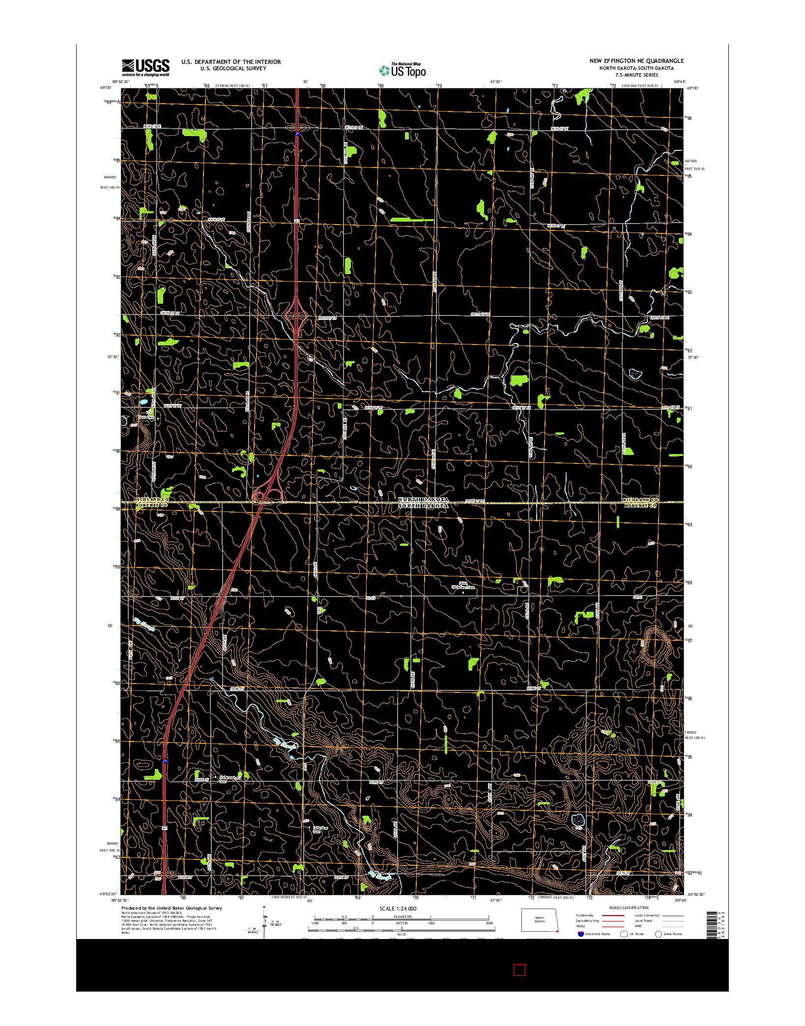 USGS US TOPO 7.5-MINUTE MAP FOR NEW EFFINGTON NE, ND-SD 2014