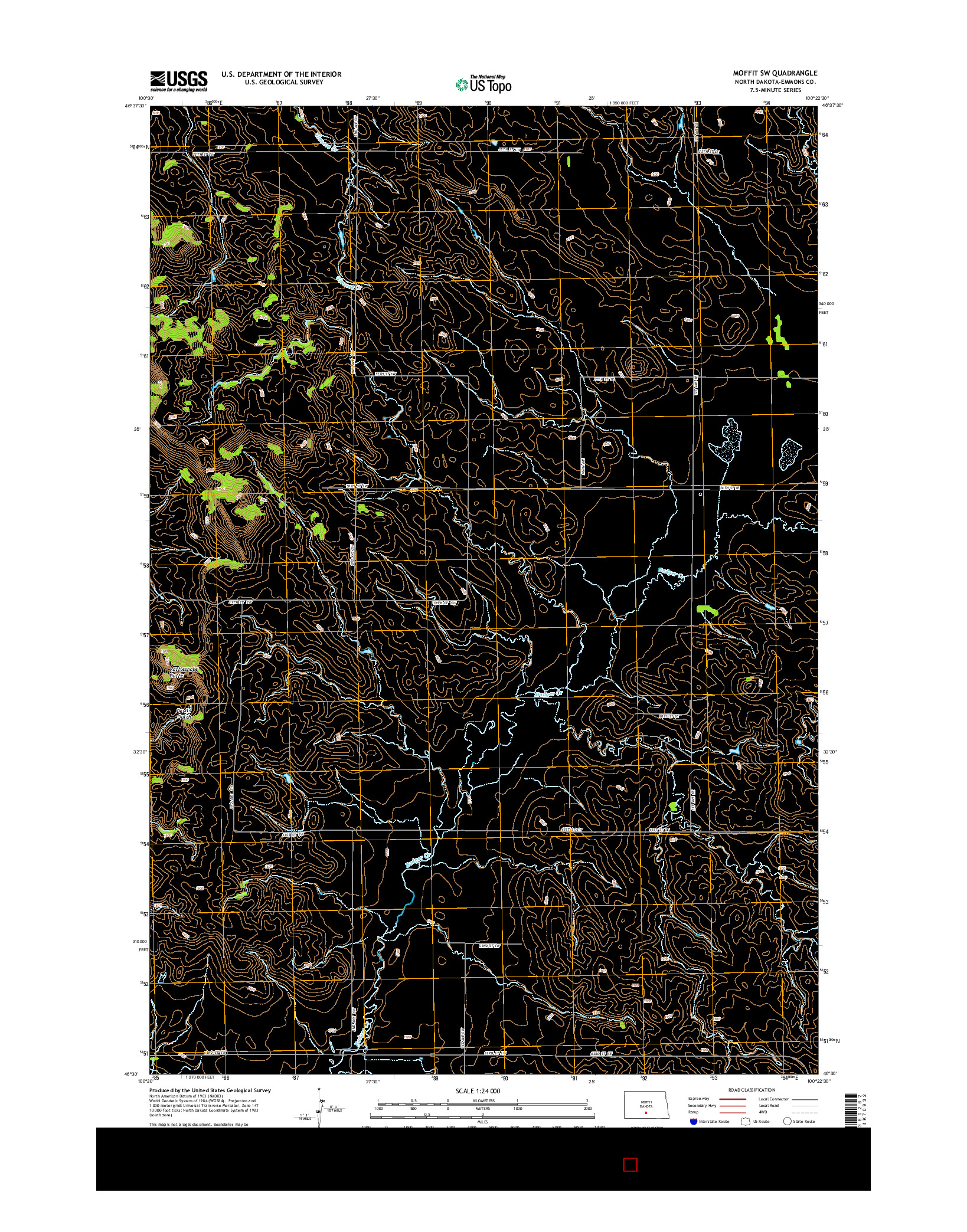 USGS US TOPO 7.5-MINUTE MAP FOR MOFFIT SW, ND 2014