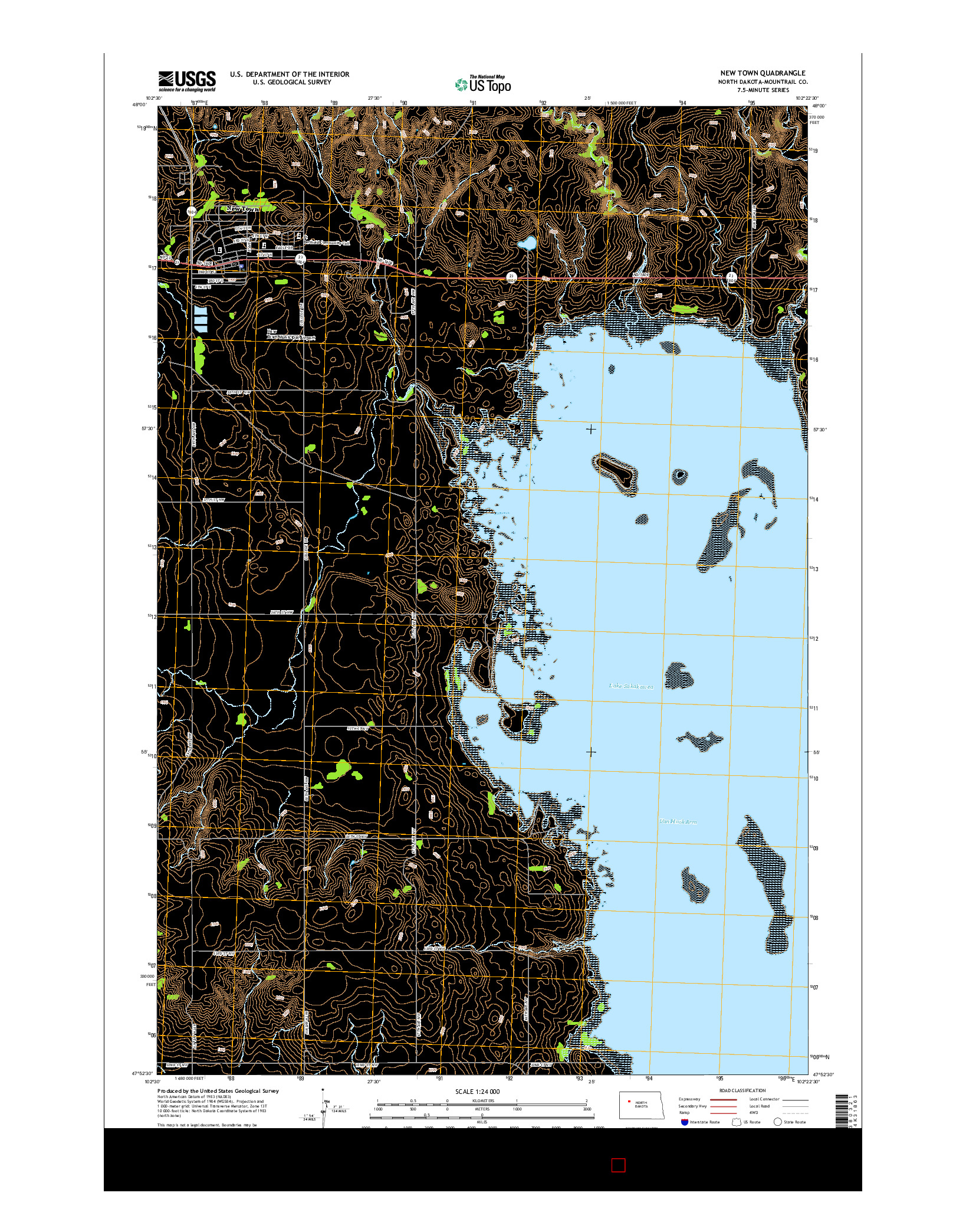 USGS US TOPO 7.5-MINUTE MAP FOR NEW TOWN, ND 2014