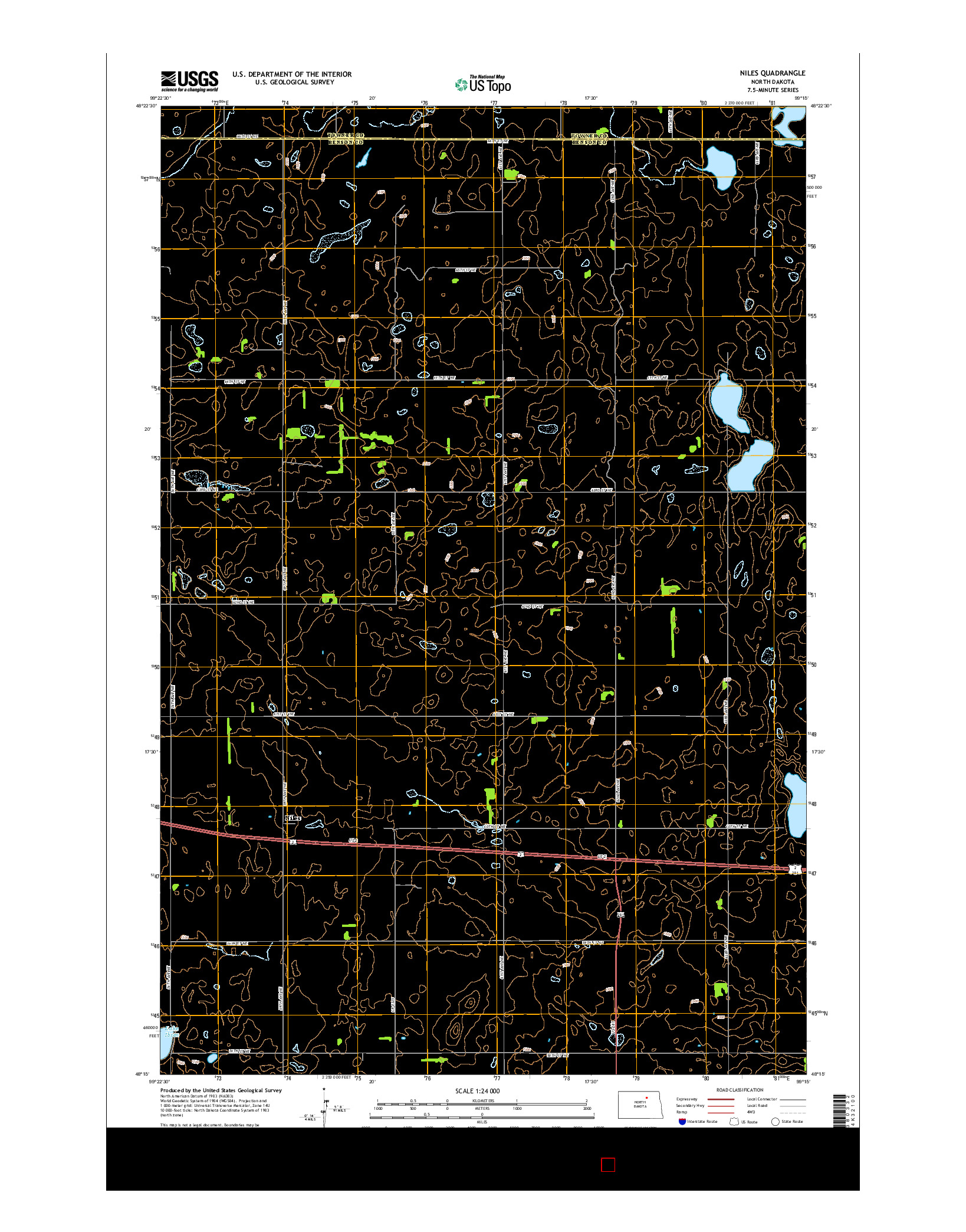 USGS US TOPO 7.5-MINUTE MAP FOR NILES, ND 2014