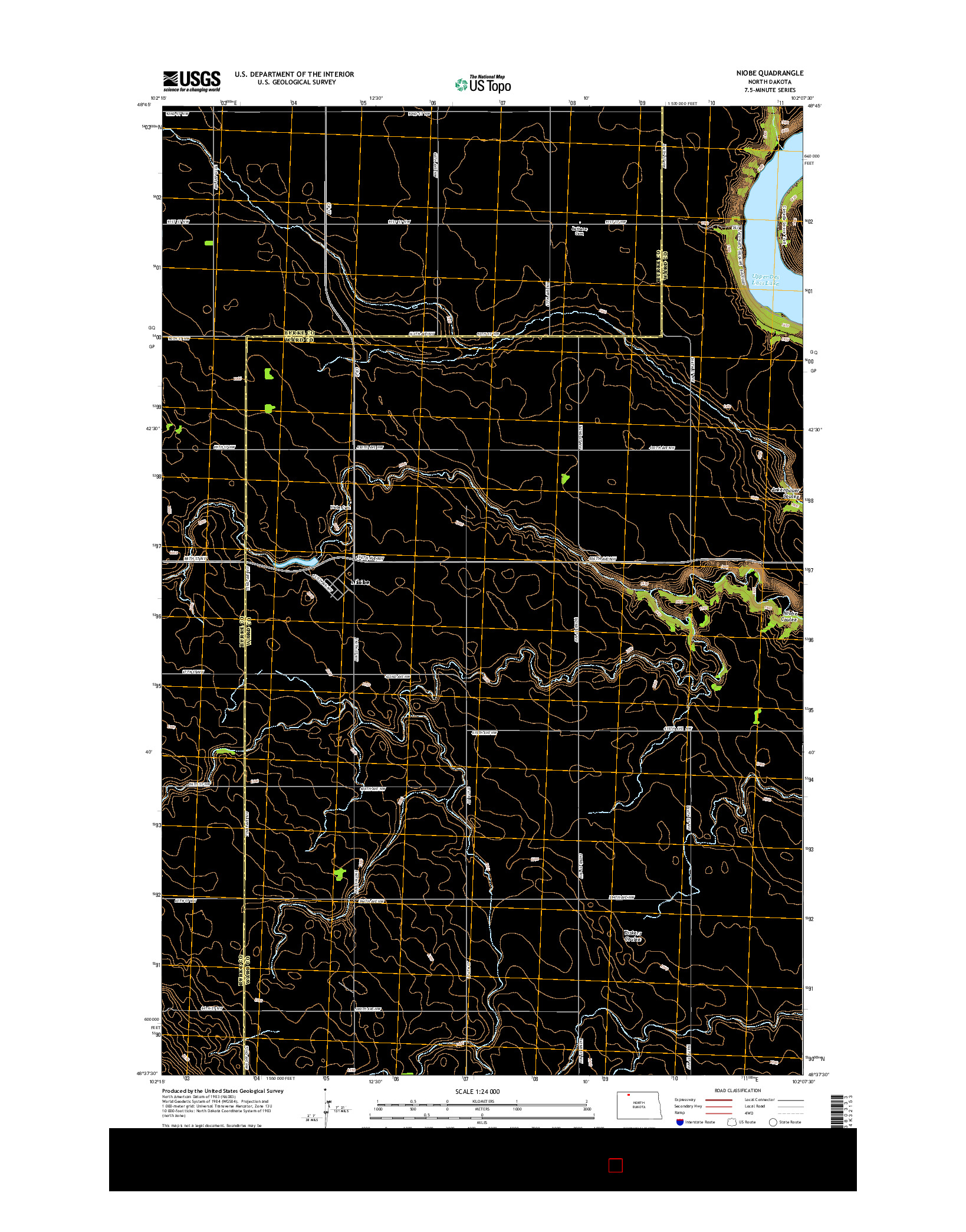USGS US TOPO 7.5-MINUTE MAP FOR NIOBE, ND 2014