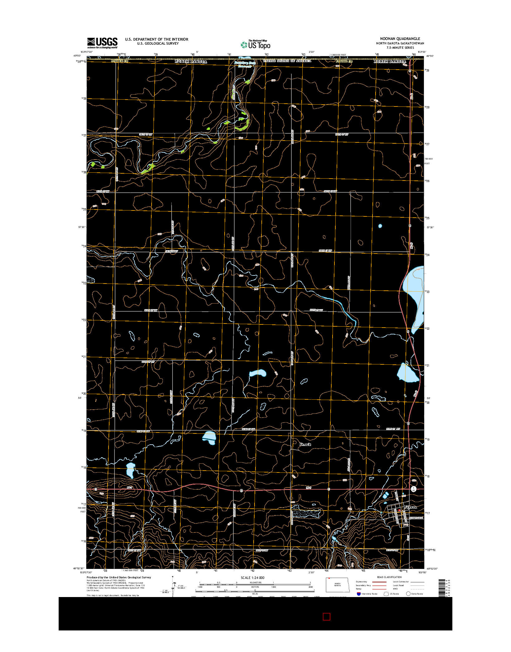 USGS US TOPO 7.5-MINUTE MAP FOR NOONAN, ND-SK 2014