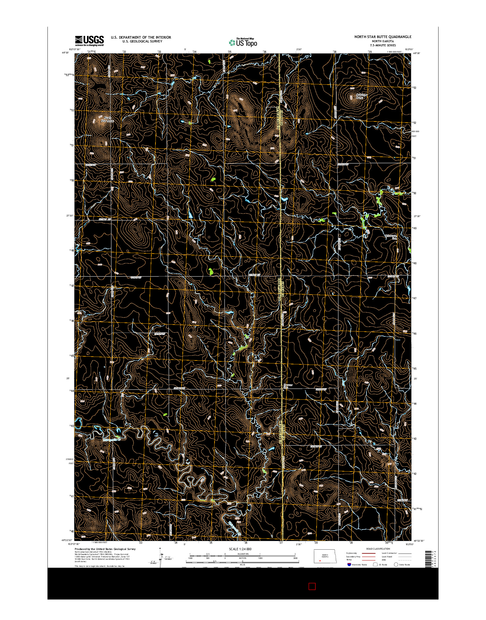 USGS US TOPO 7.5-MINUTE MAP FOR NORTH STAR BUTTE, ND 2014