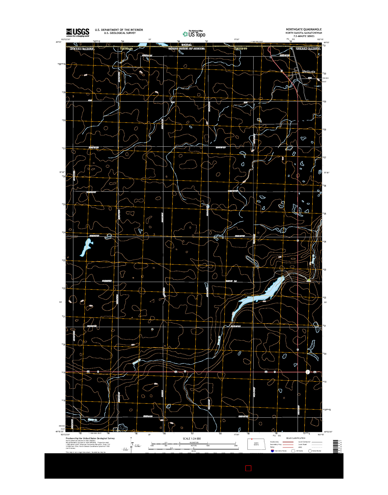 USGS US TOPO 7.5-MINUTE MAP FOR NORTHGATE, ND-SK 2014
