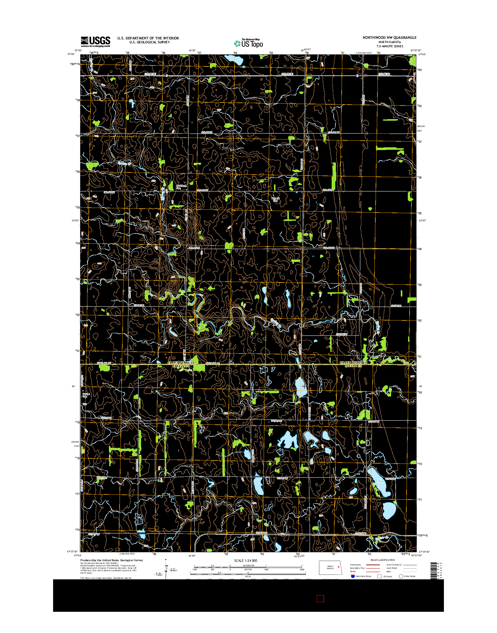 USGS US TOPO 7.5-MINUTE MAP FOR NORTHWOOD NW, ND 2014