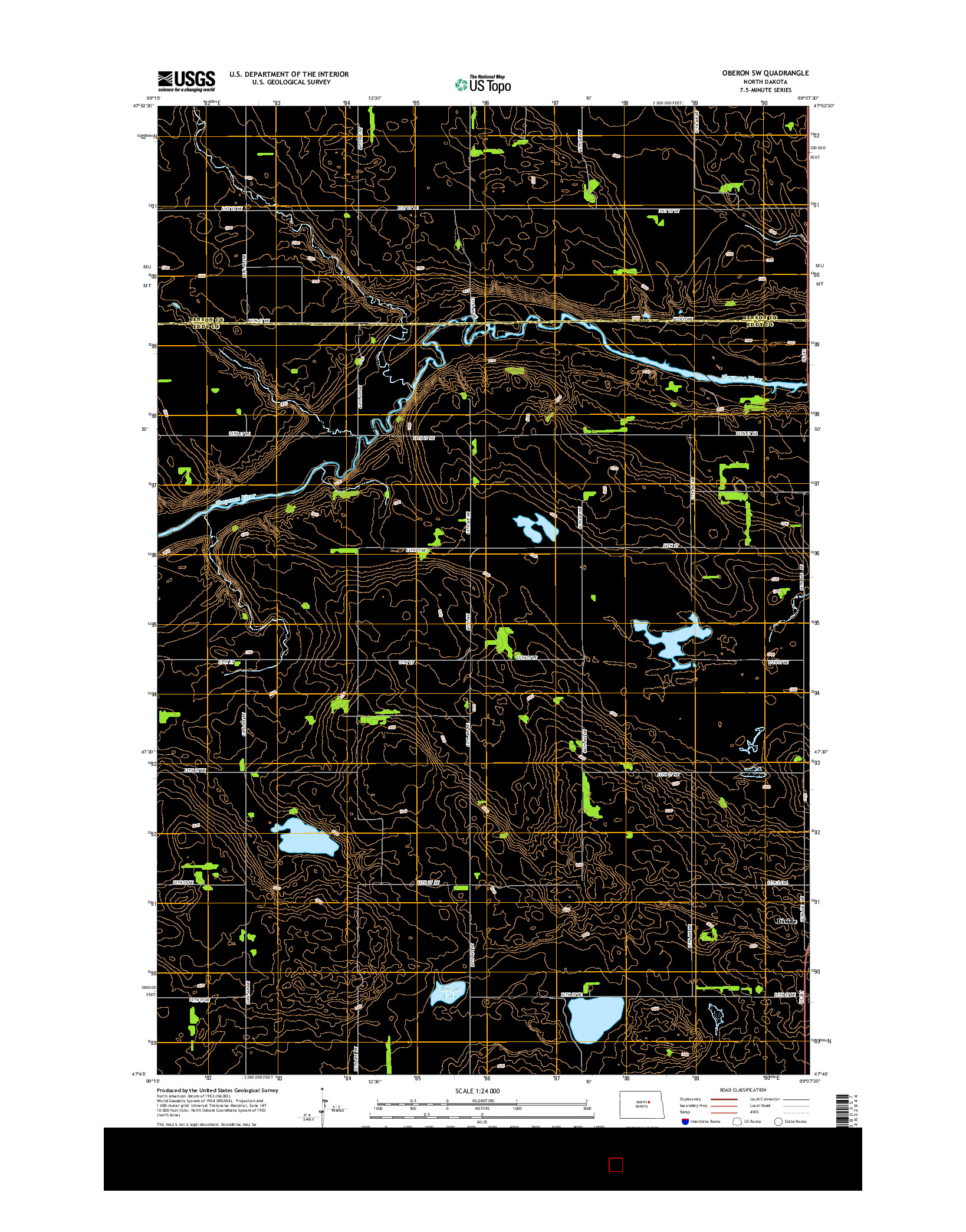USGS US TOPO 7.5-MINUTE MAP FOR OBERON SW, ND 2014