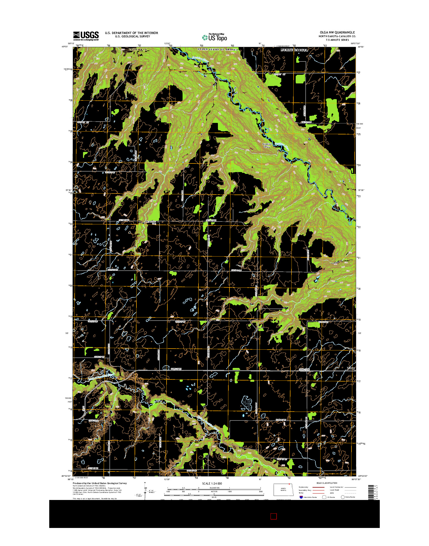 USGS US TOPO 7.5-MINUTE MAP FOR OLGA NW, ND 2014