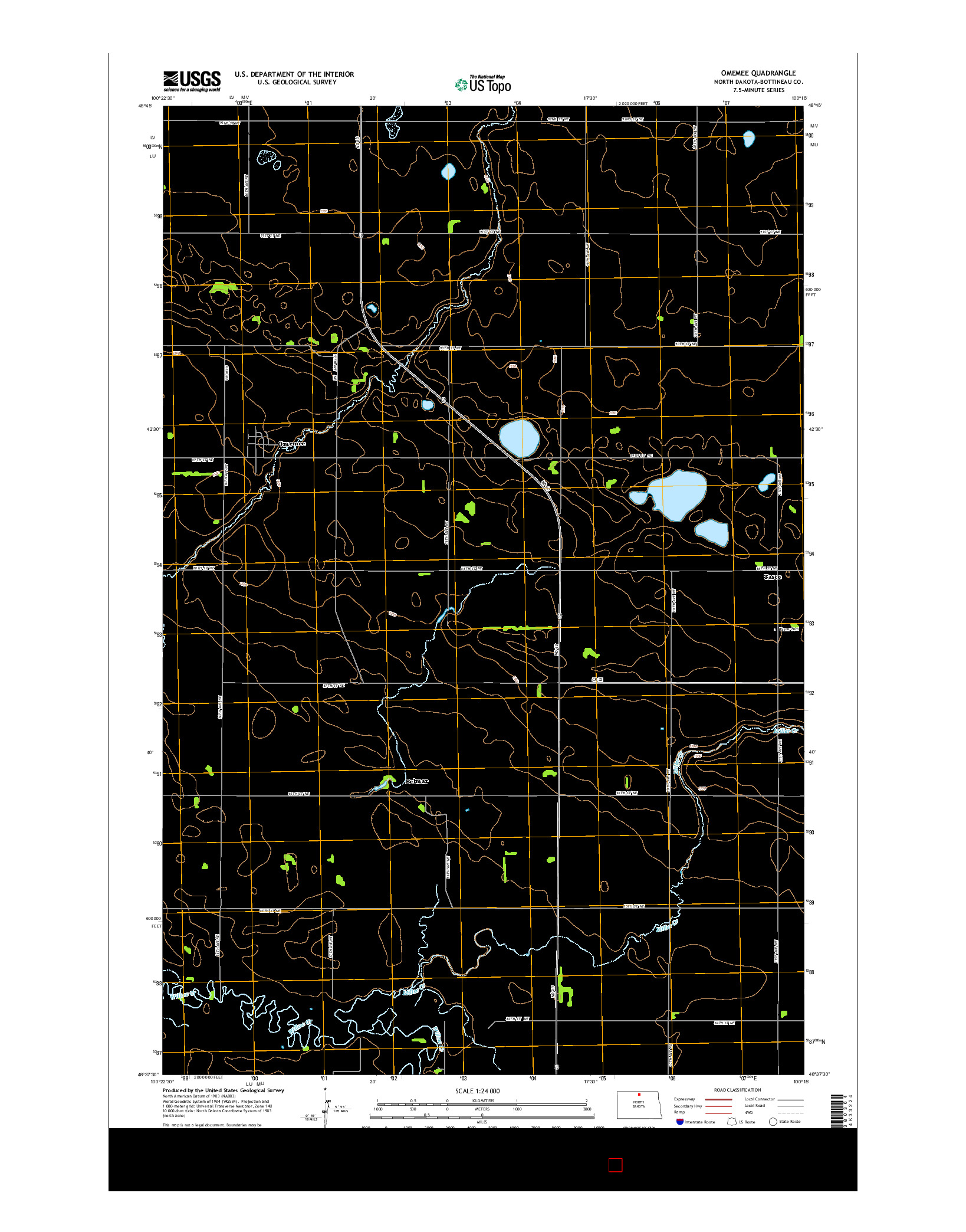 USGS US TOPO 7.5-MINUTE MAP FOR OMEMEE, ND 2014