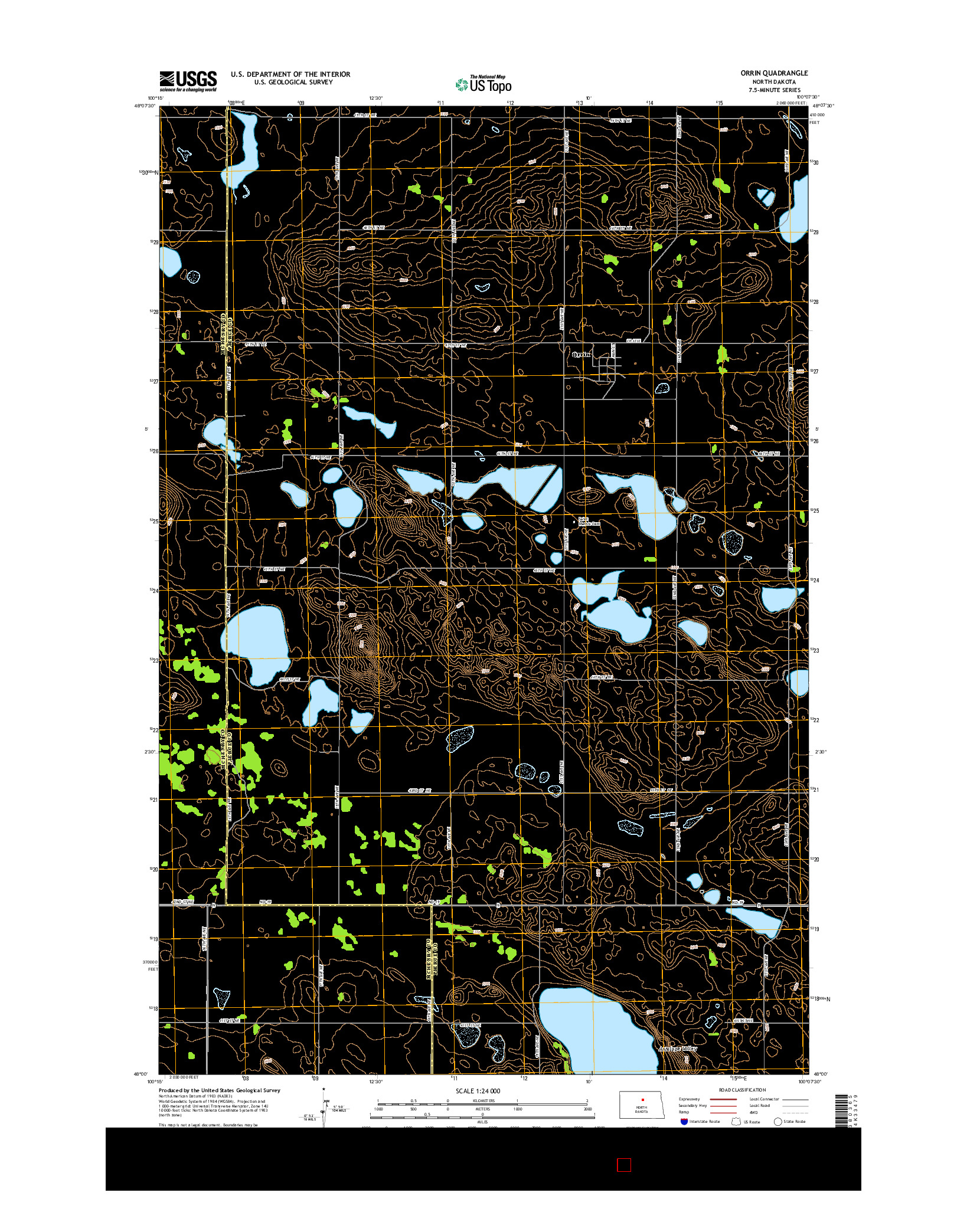 USGS US TOPO 7.5-MINUTE MAP FOR ORRIN, ND 2014
