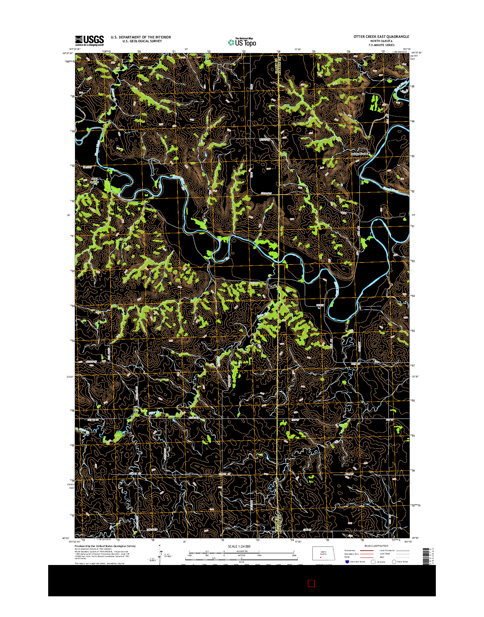 USGS US TOPO 7.5-MINUTE MAP FOR OTTER CREEK EAST, ND 2014