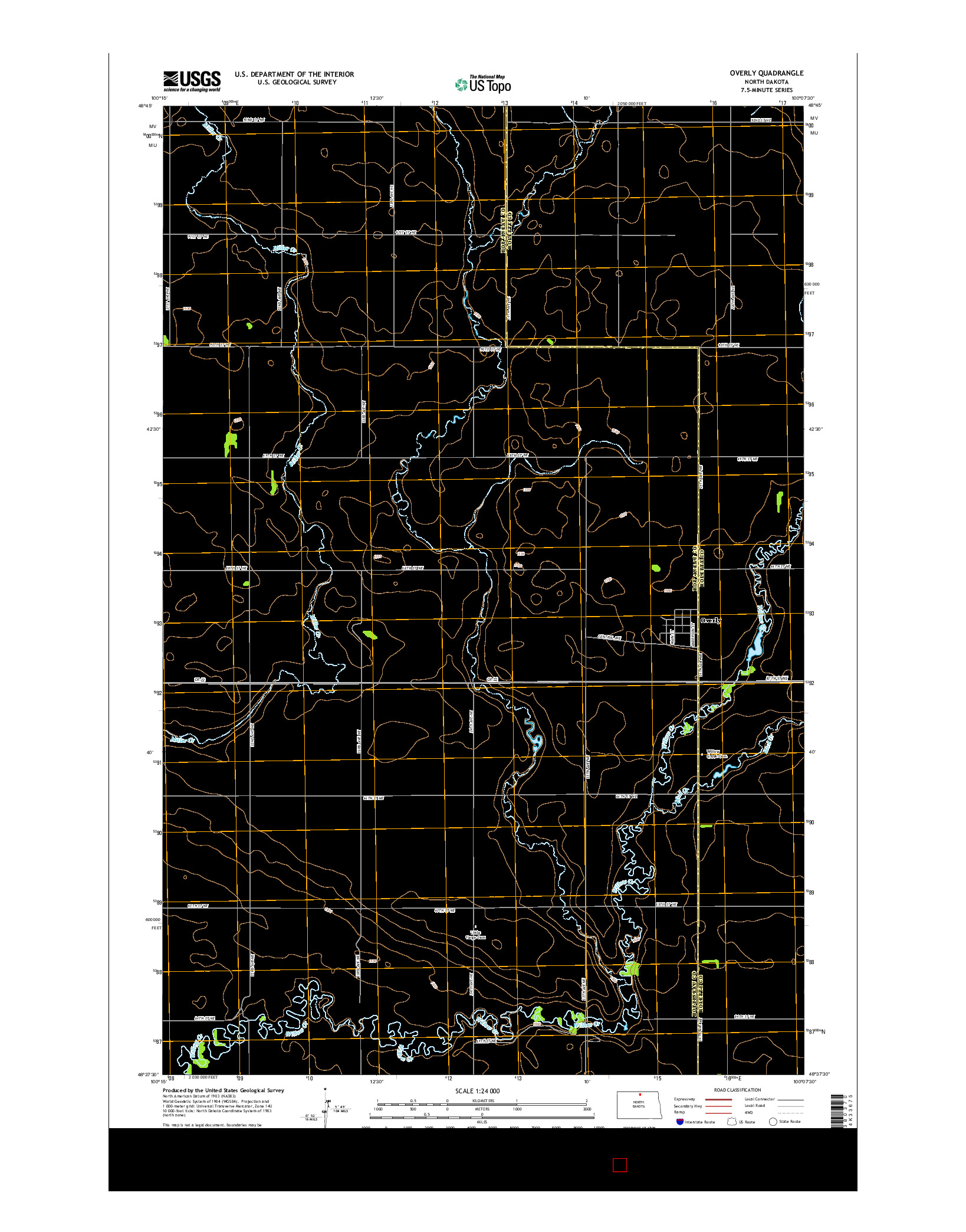USGS US TOPO 7.5-MINUTE MAP FOR OVERLY, ND 2014