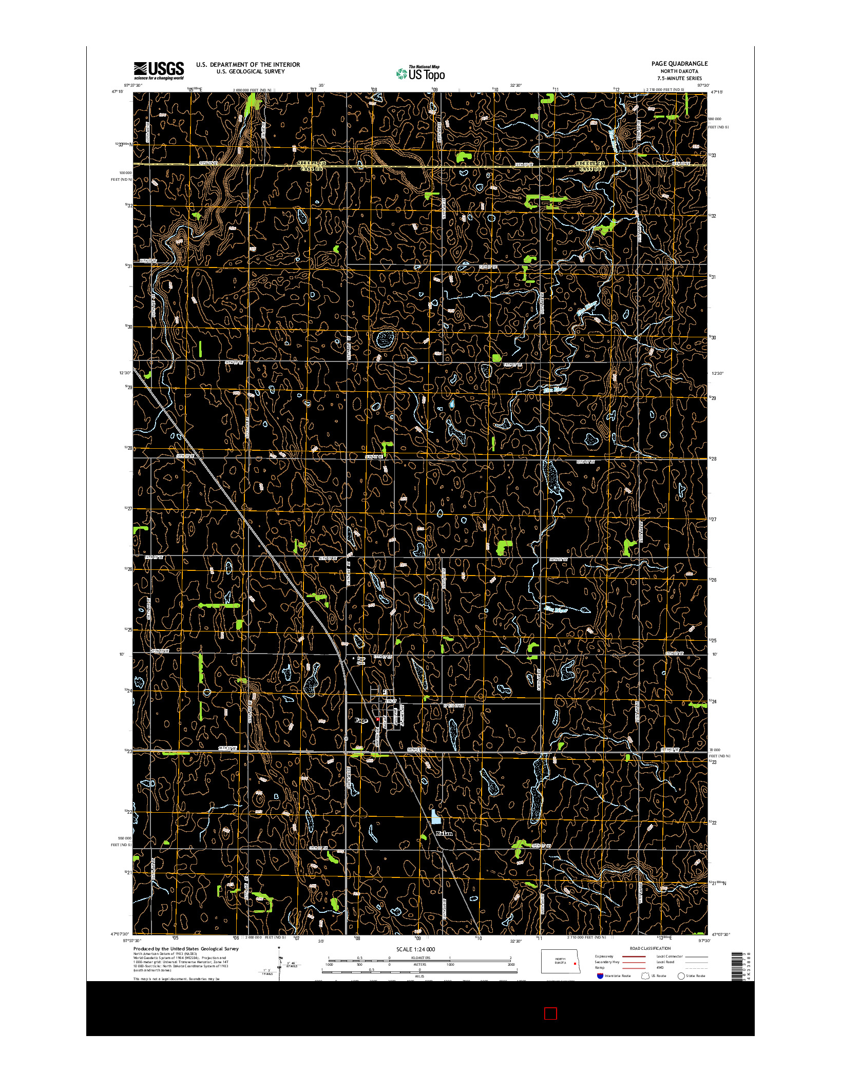 USGS US TOPO 7.5-MINUTE MAP FOR PAGE, ND 2014