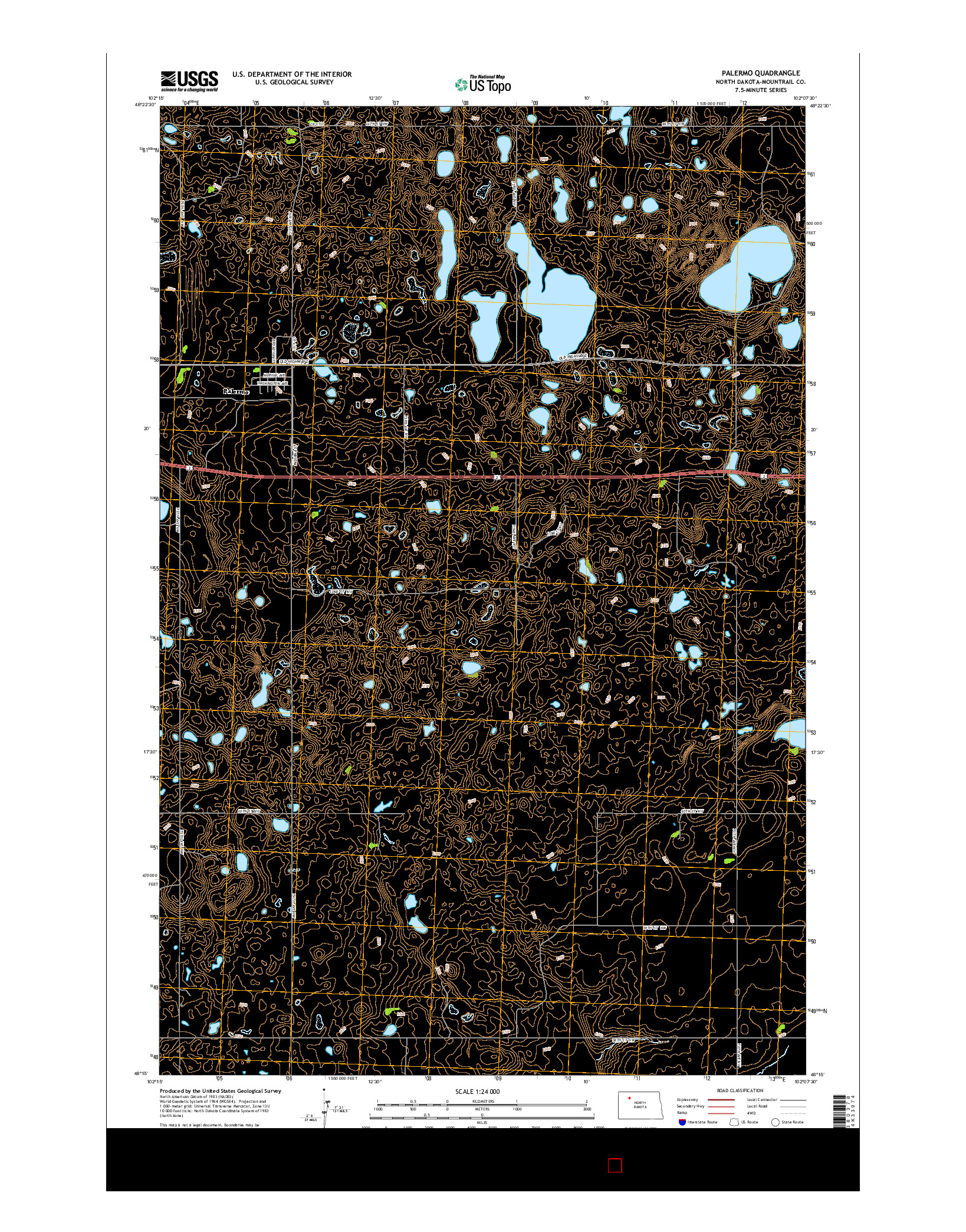 USGS US TOPO 7.5-MINUTE MAP FOR PALERMO, ND 2014