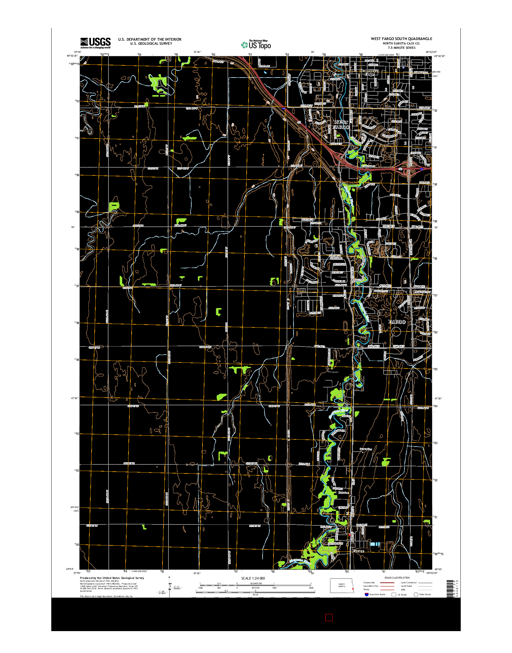 USGS US TOPO 7.5-MINUTE MAP FOR WEST FARGO SOUTH, ND 2014