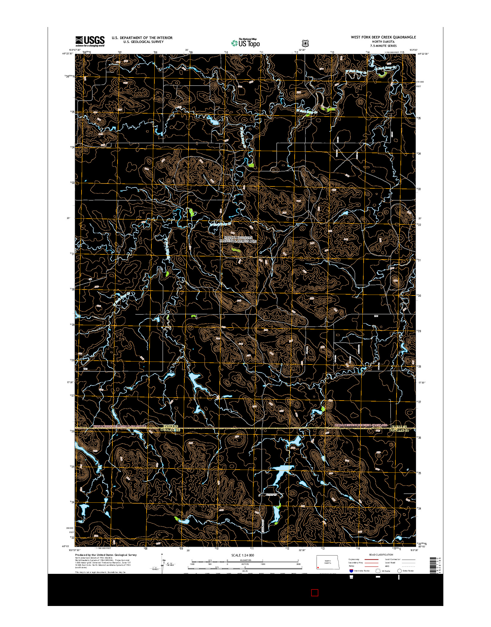 USGS US TOPO 7.5-MINUTE MAP FOR WEST FORK DEEP CREEK, ND 2014