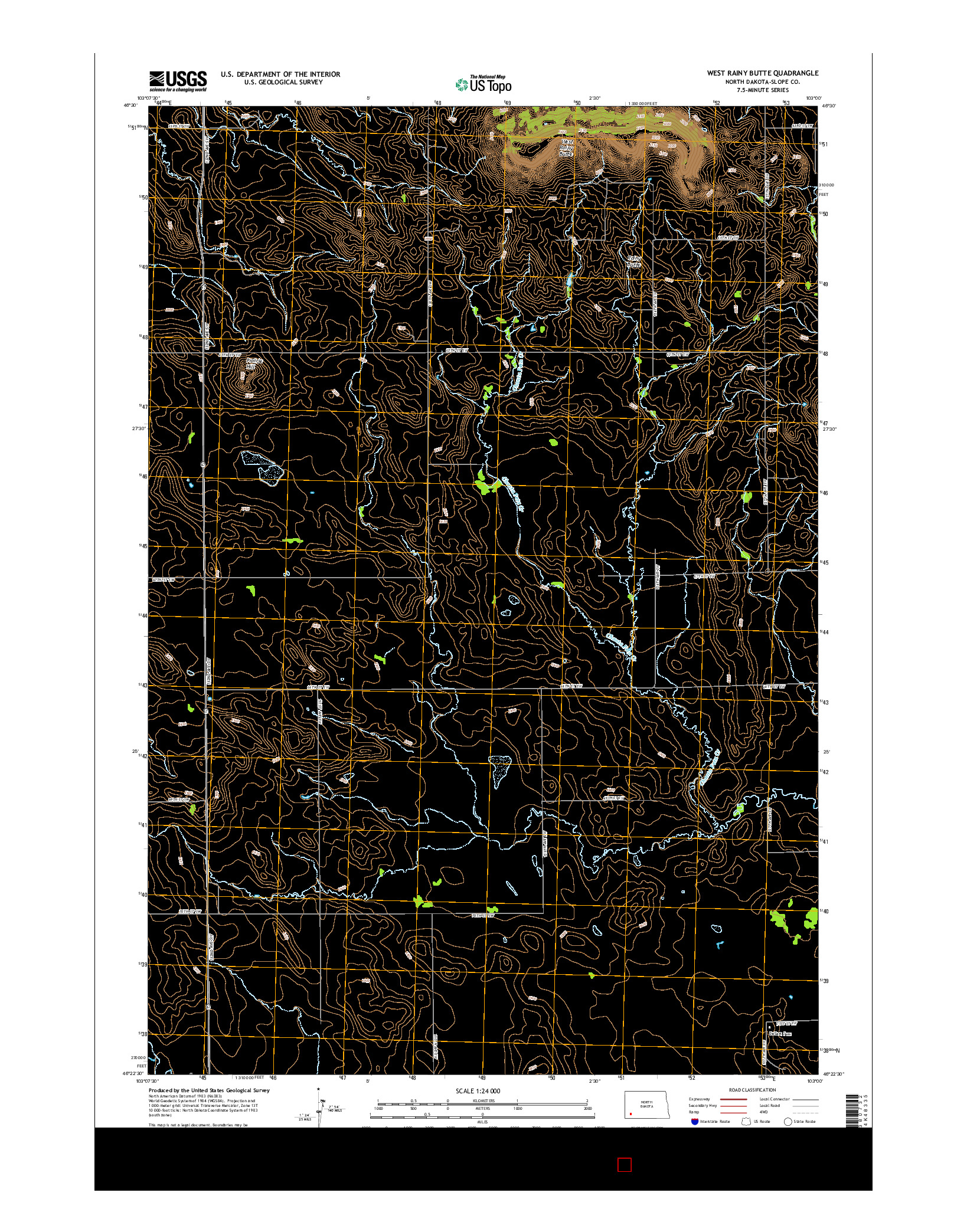 USGS US TOPO 7.5-MINUTE MAP FOR WEST RAINY BUTTE, ND 2014