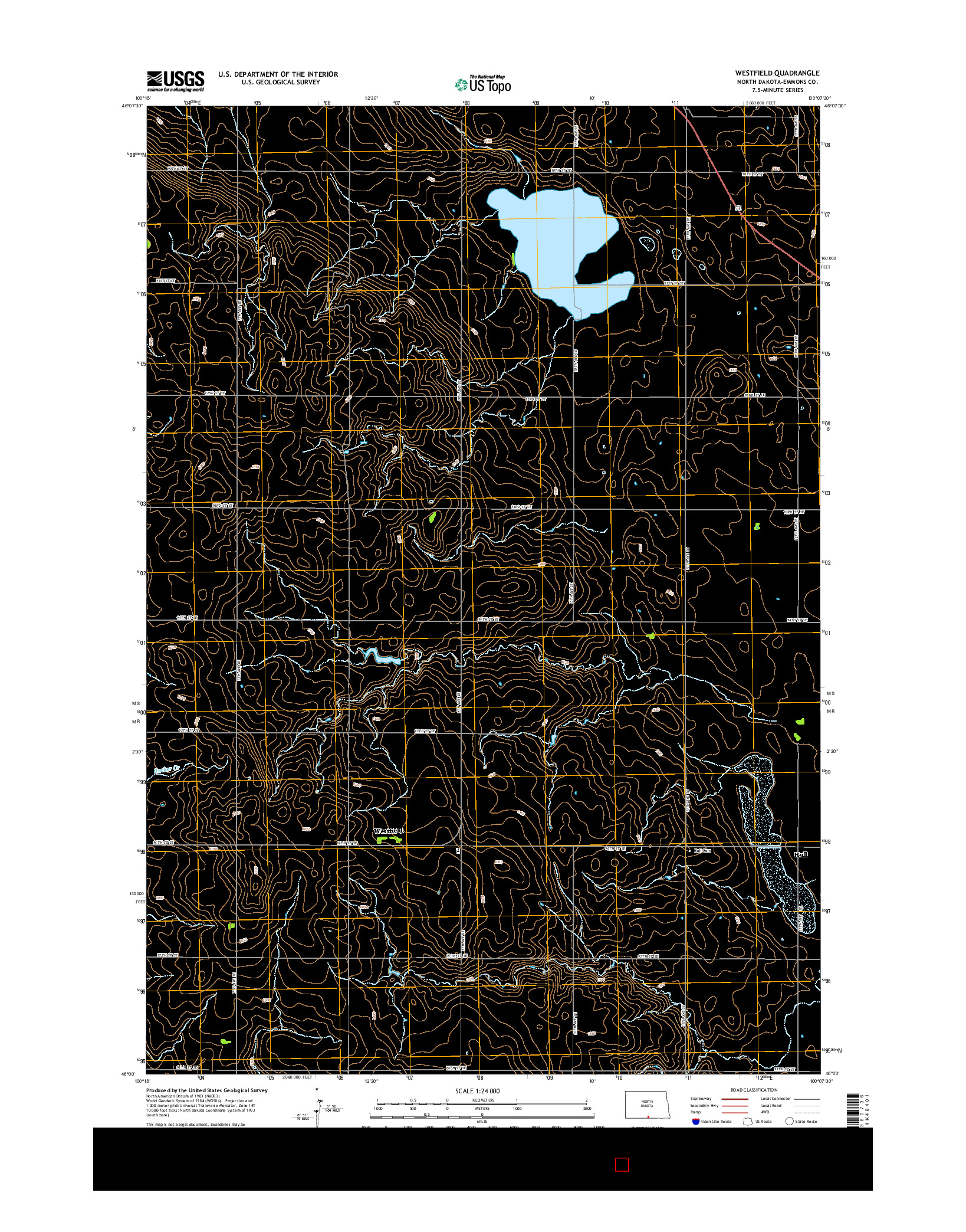 USGS US TOPO 7.5-MINUTE MAP FOR WESTFIELD, ND 2014