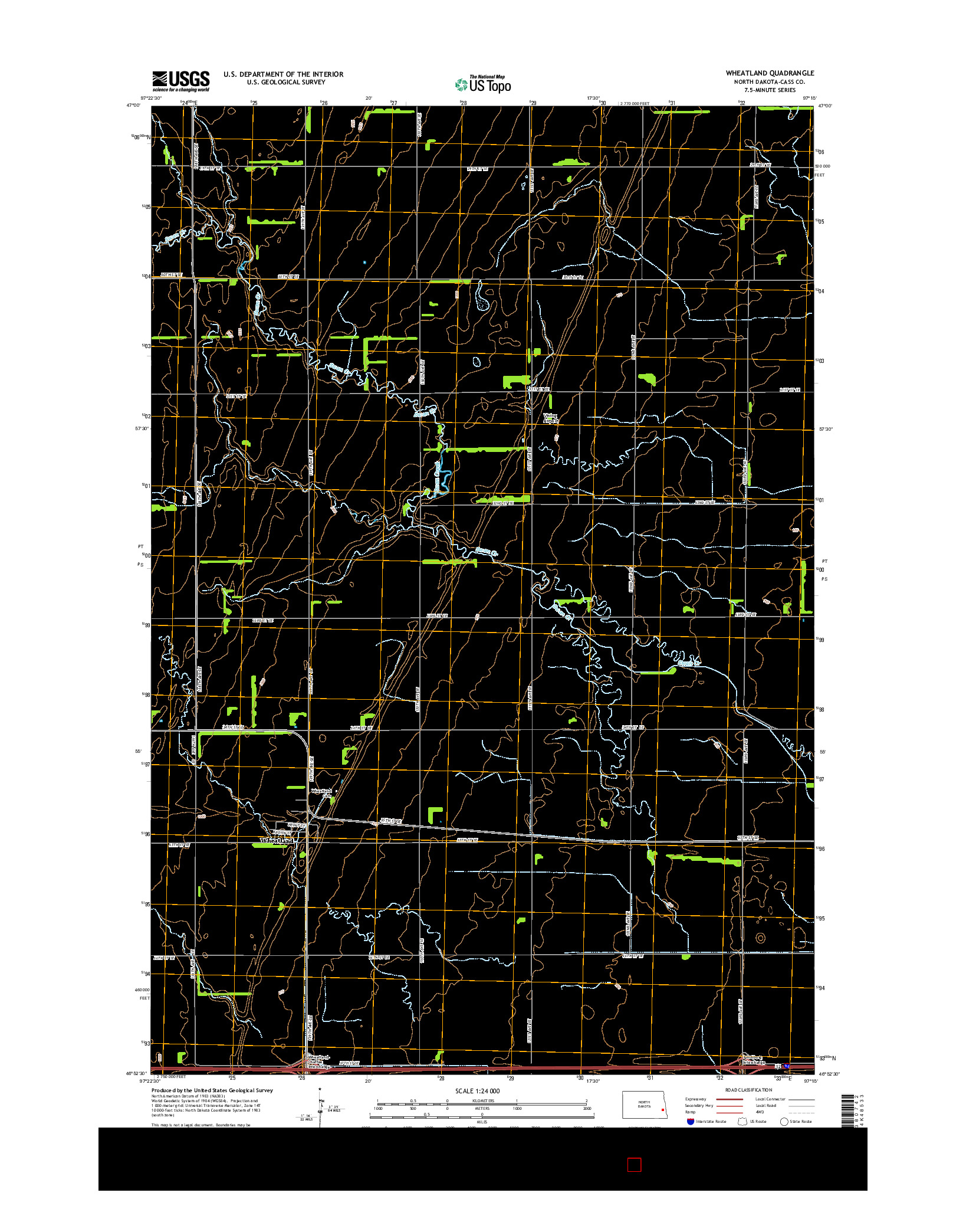 USGS US TOPO 7.5-MINUTE MAP FOR WHEATLAND, ND 2014