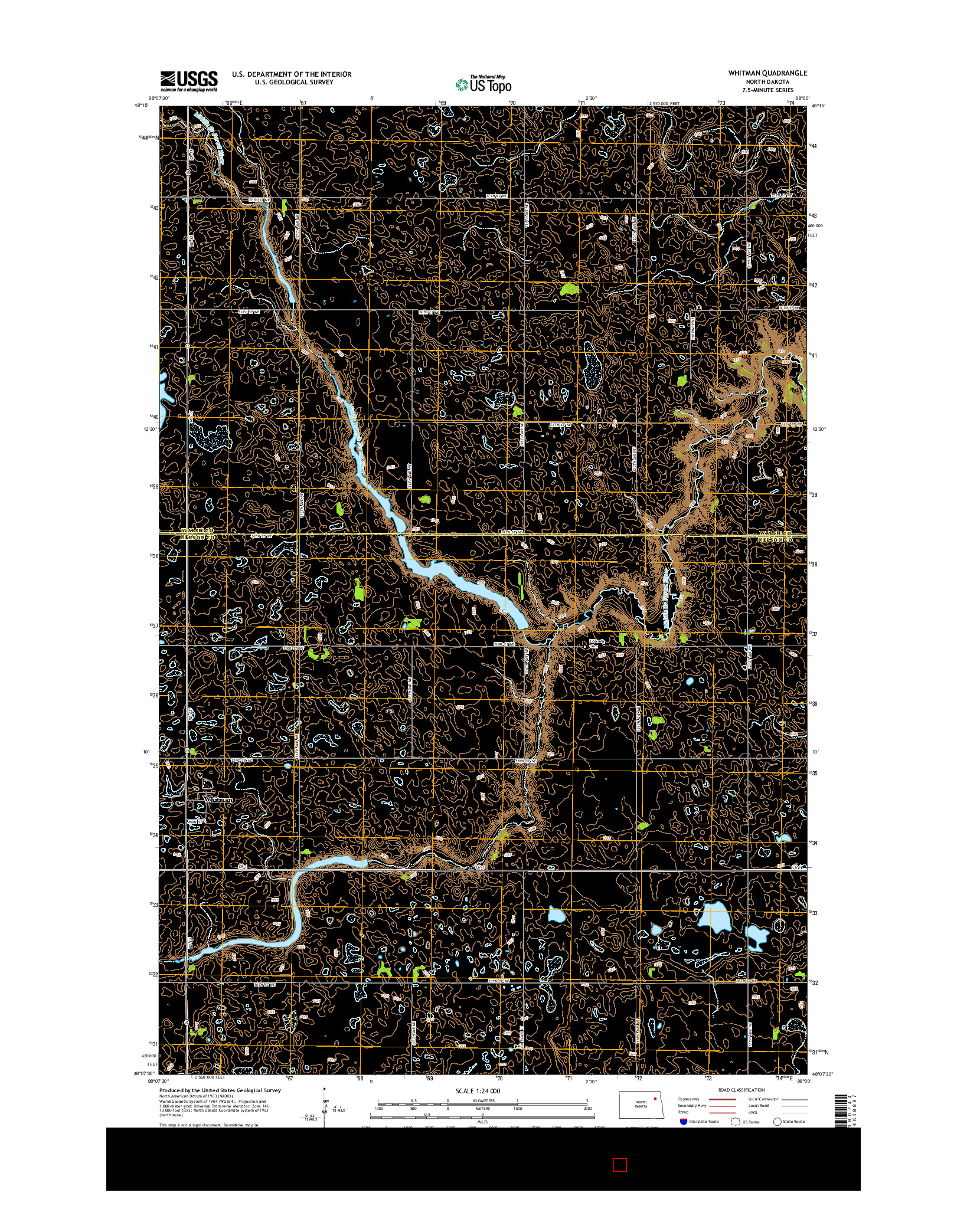 USGS US TOPO 7.5-MINUTE MAP FOR WHITMAN, ND 2014