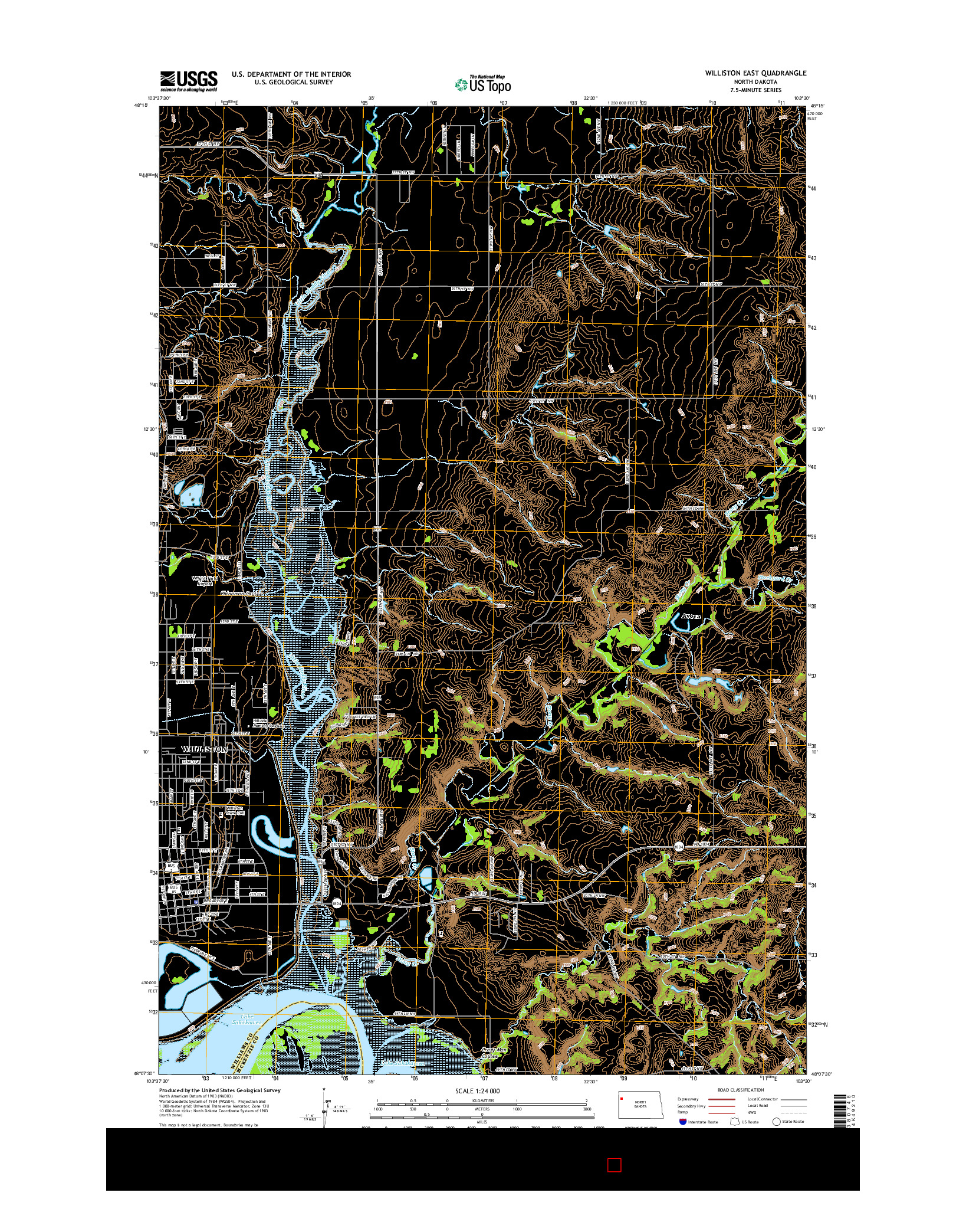 USGS US TOPO 7.5-MINUTE MAP FOR WILLISTON EAST, ND 2014