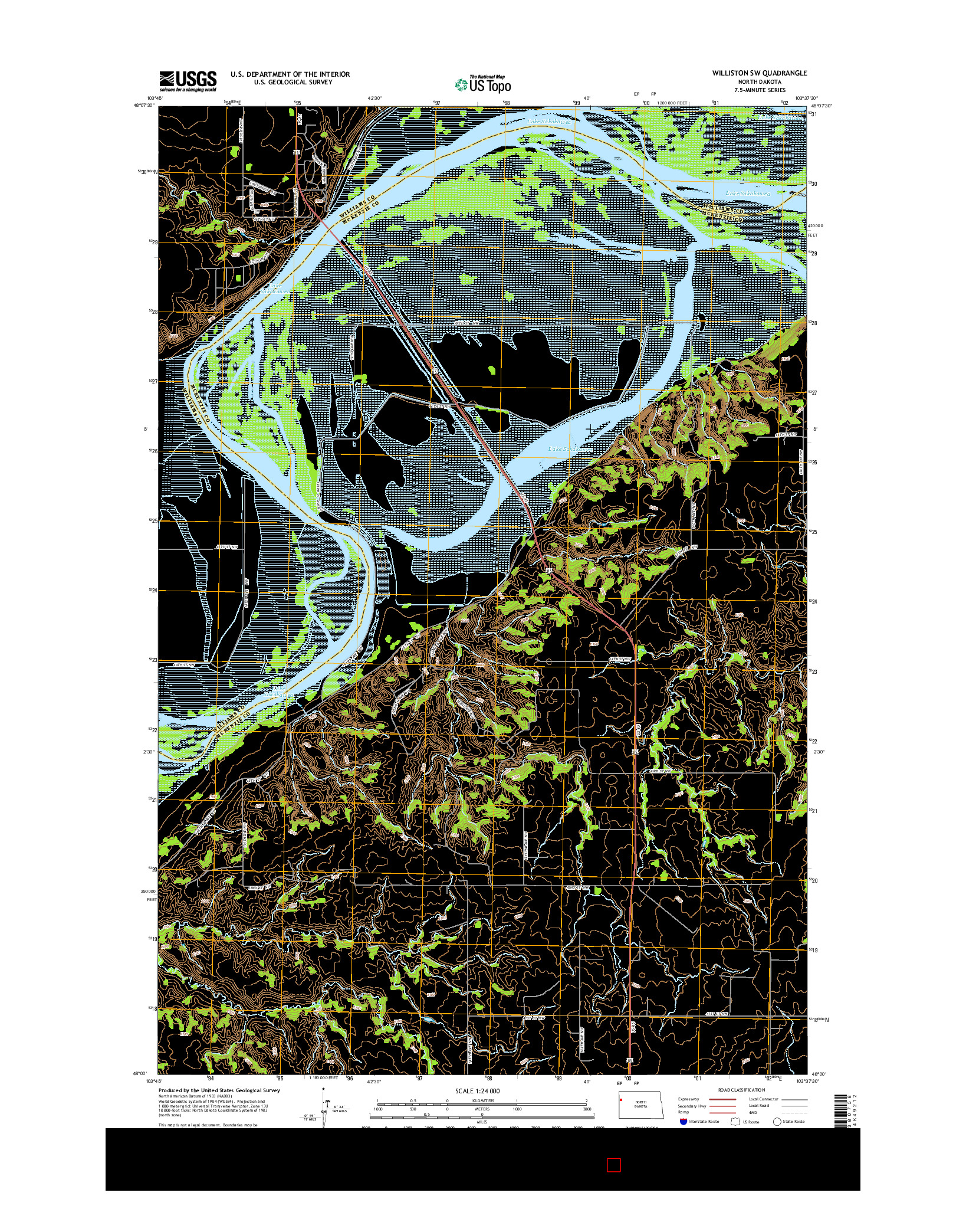 USGS US TOPO 7.5-MINUTE MAP FOR WILLISTON SW, ND 2014