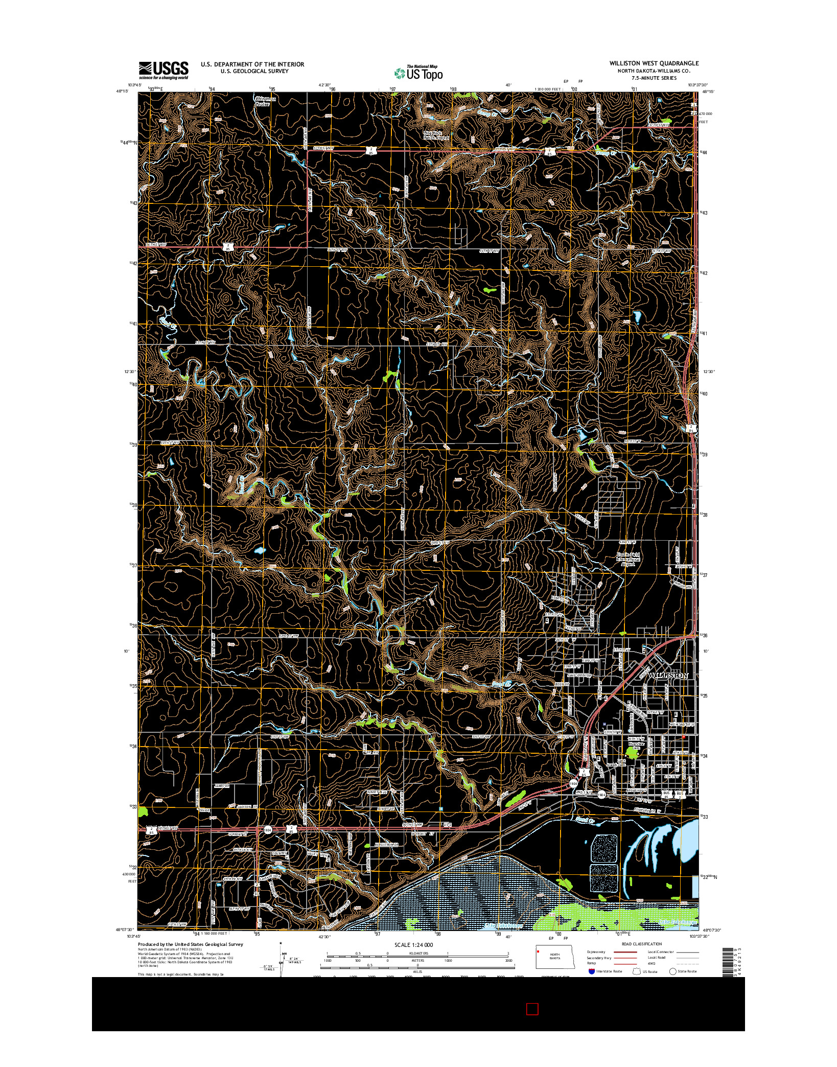USGS US TOPO 7.5-MINUTE MAP FOR WILLISTON WEST, ND 2014